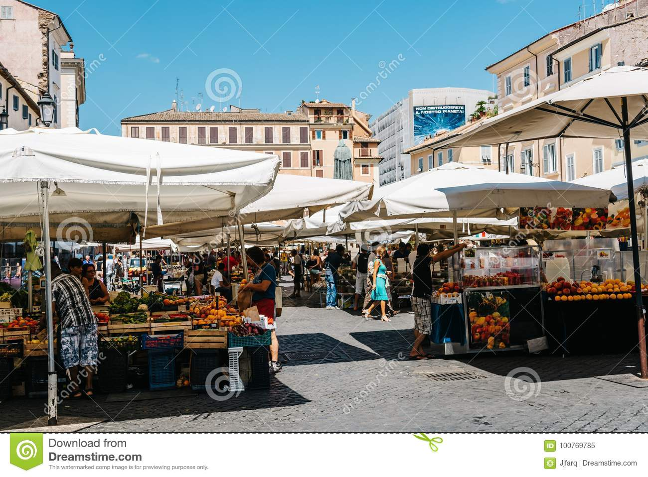 Street market with fruits in Rome.