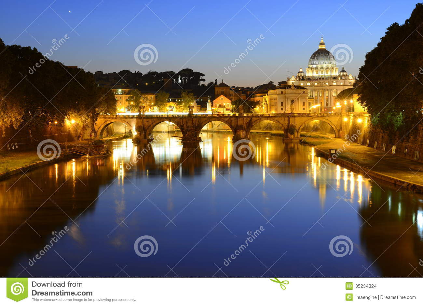 Rome, Italy, Basilica di San Pietro and Sant Angelo bridge at night