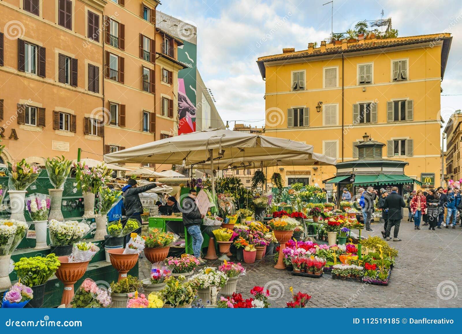 Fiori Italia.Campo Dei Fiori Square Rome Italy Editorial Image Image Of