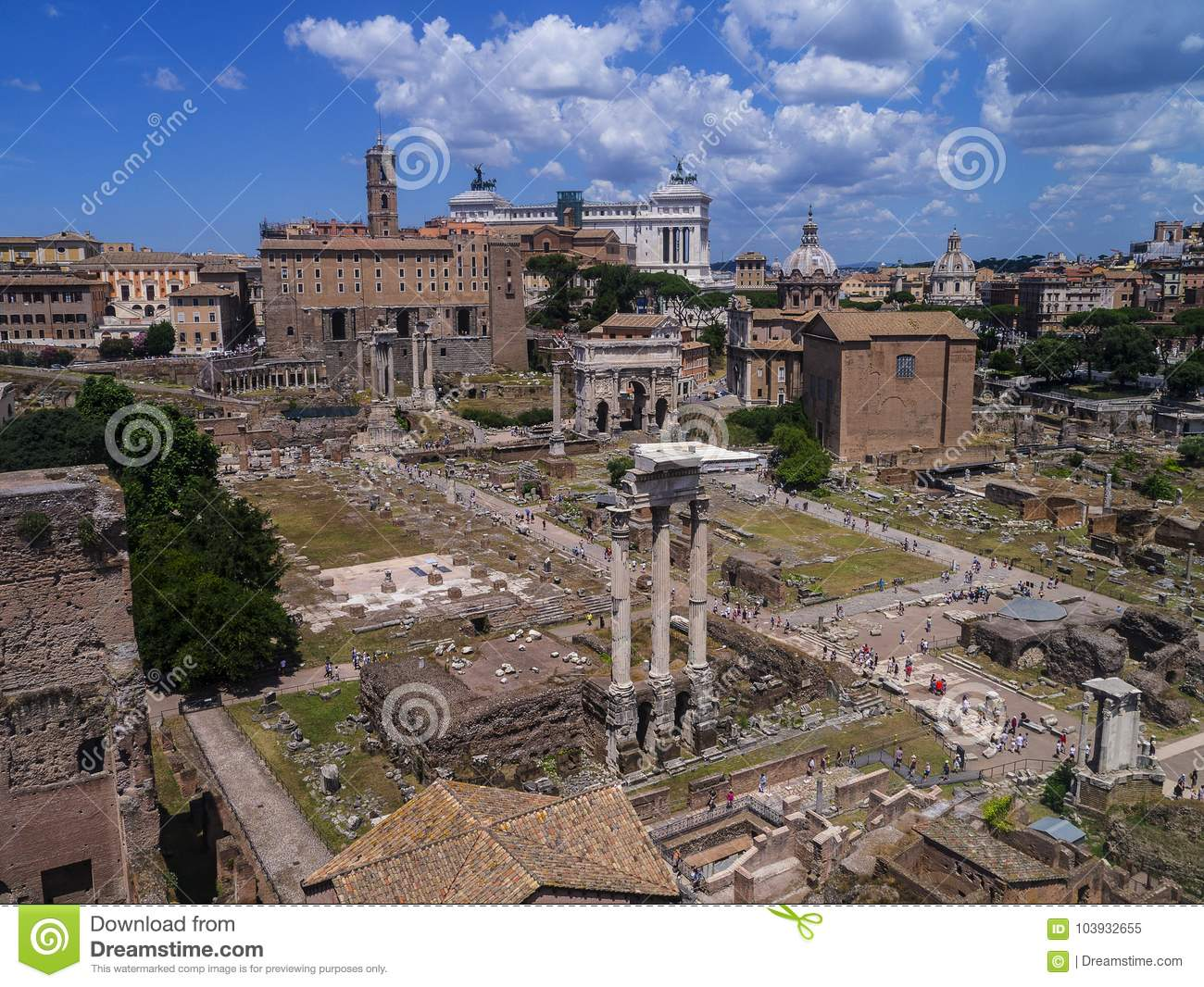 The Ancient Roman Forum from the Palatine Hill in Rome Italy