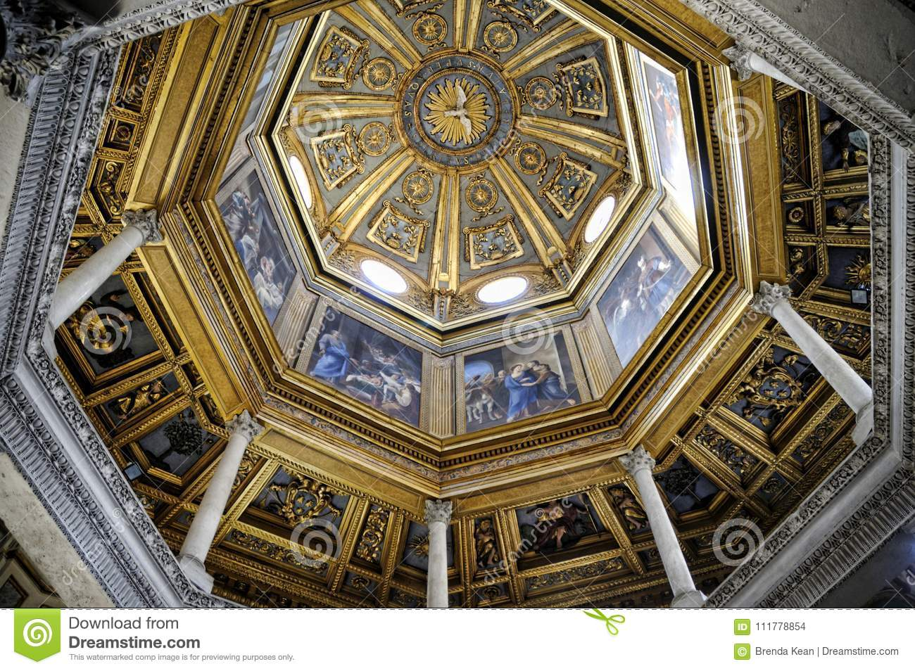 The baptistry of the St John Lateran Basilica in Rome Italy