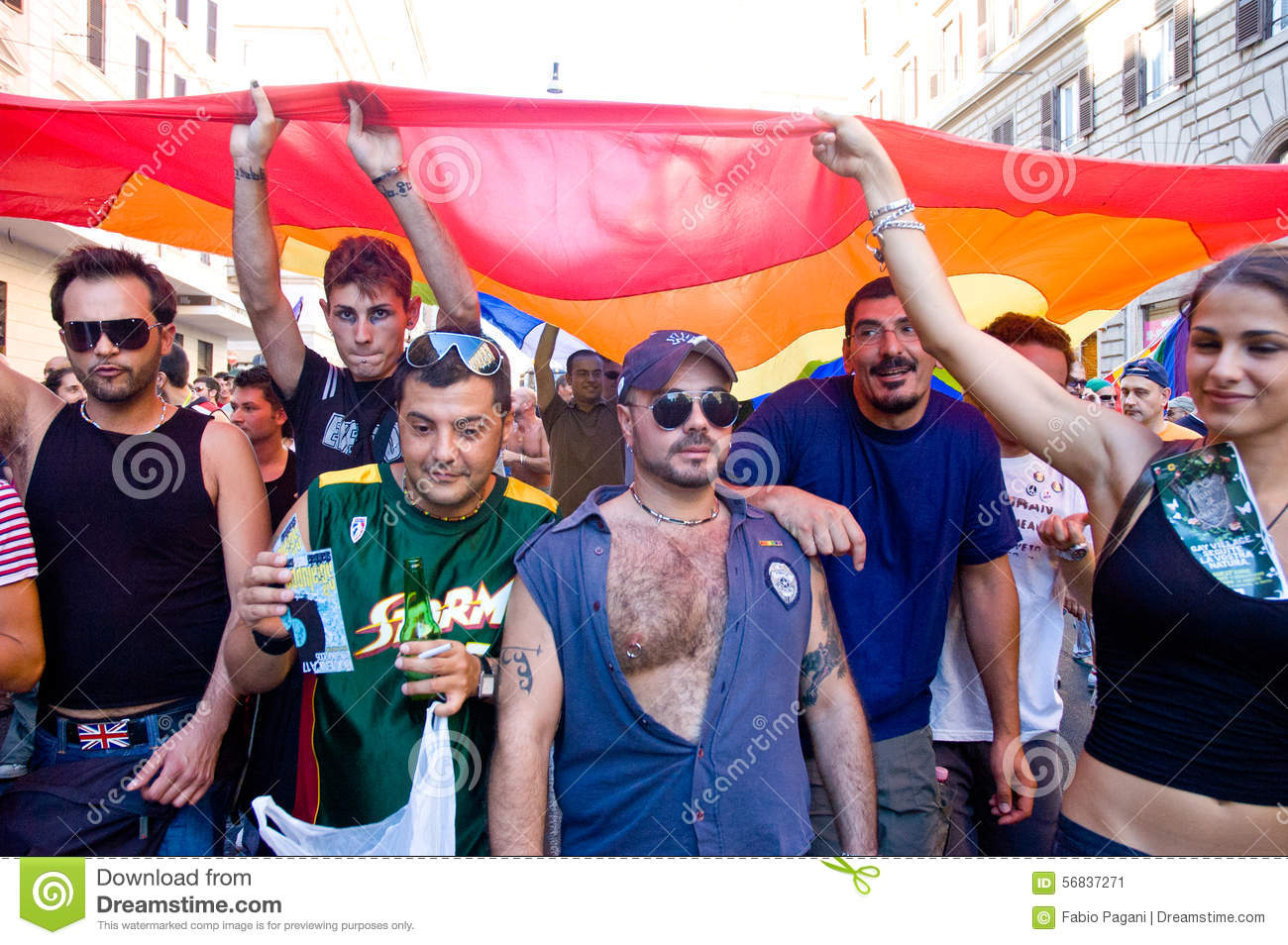 ROME, ITALY - JULY 9 2005. Gay pride day, parade people on city streets  during the demonstration