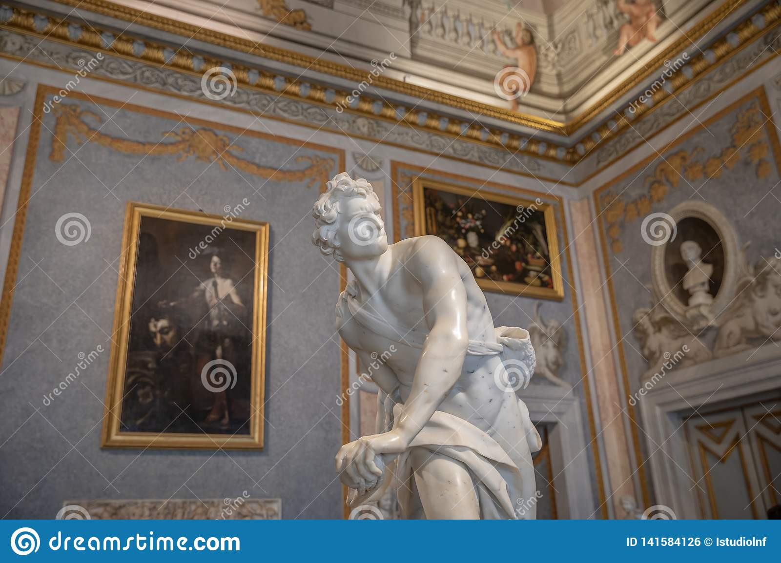 Baroque marble sculpture David by Bernini 1623-1624 in Galleria Borghese