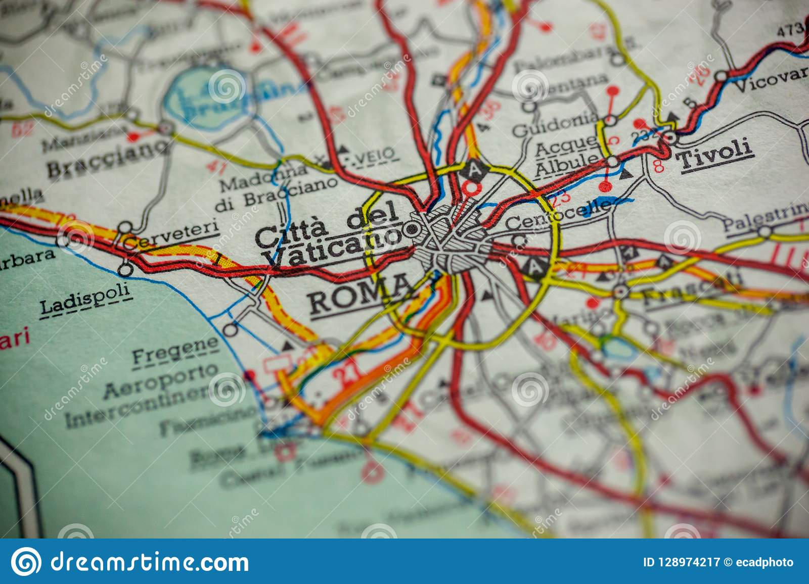 Rome Italy Map stock image. Image of cartography, journey ...
