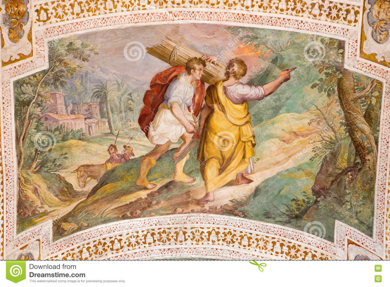 ROME, ITALY - MARCH 11, 2016: The Abraham and Isaac Going to the Sacrifice by P. Bril, and A. Viviani 1560–1620.