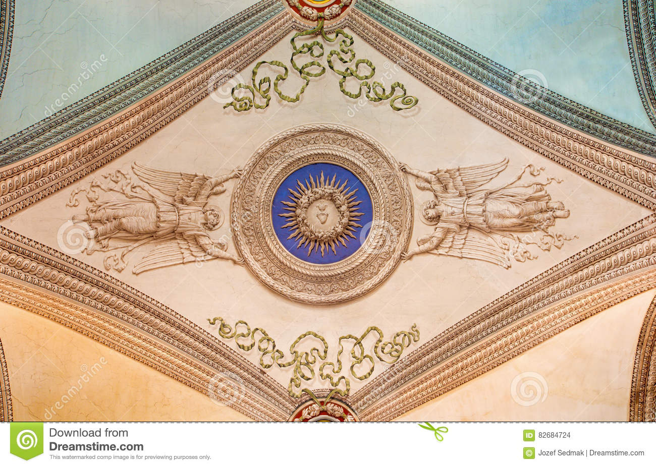 ROME, ITALY - MARCH 12, 2016: The ceiling frescoes in church Chiesa di Nostra Signora del Sacro Cuore by unknown artist