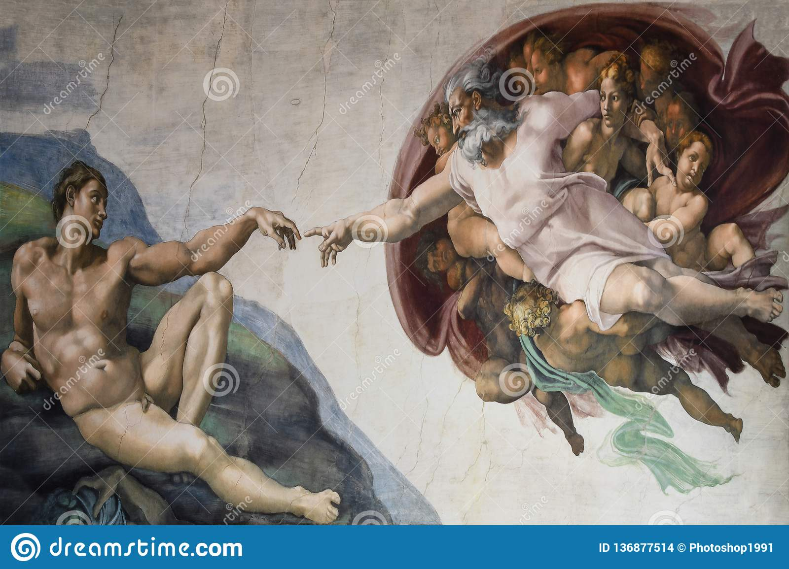 Rome Italy March 08 creation of Adam by Michelangelo