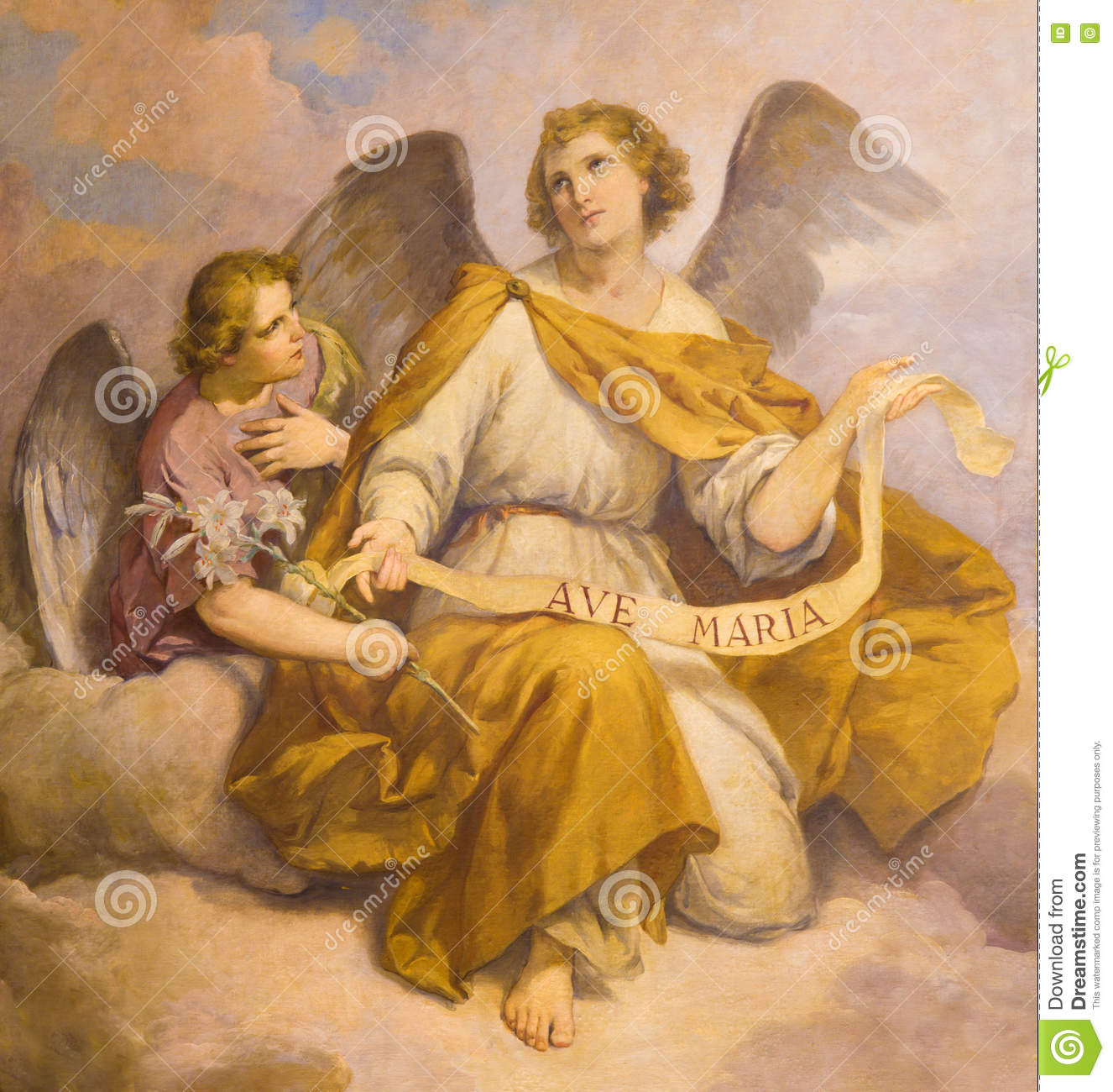 ROME, ITALY - MARCH 9, 2016: The fresco of angels in church Chiesa di Santa Maria in Aquiro (Our Lady of Lourdes chapel)
