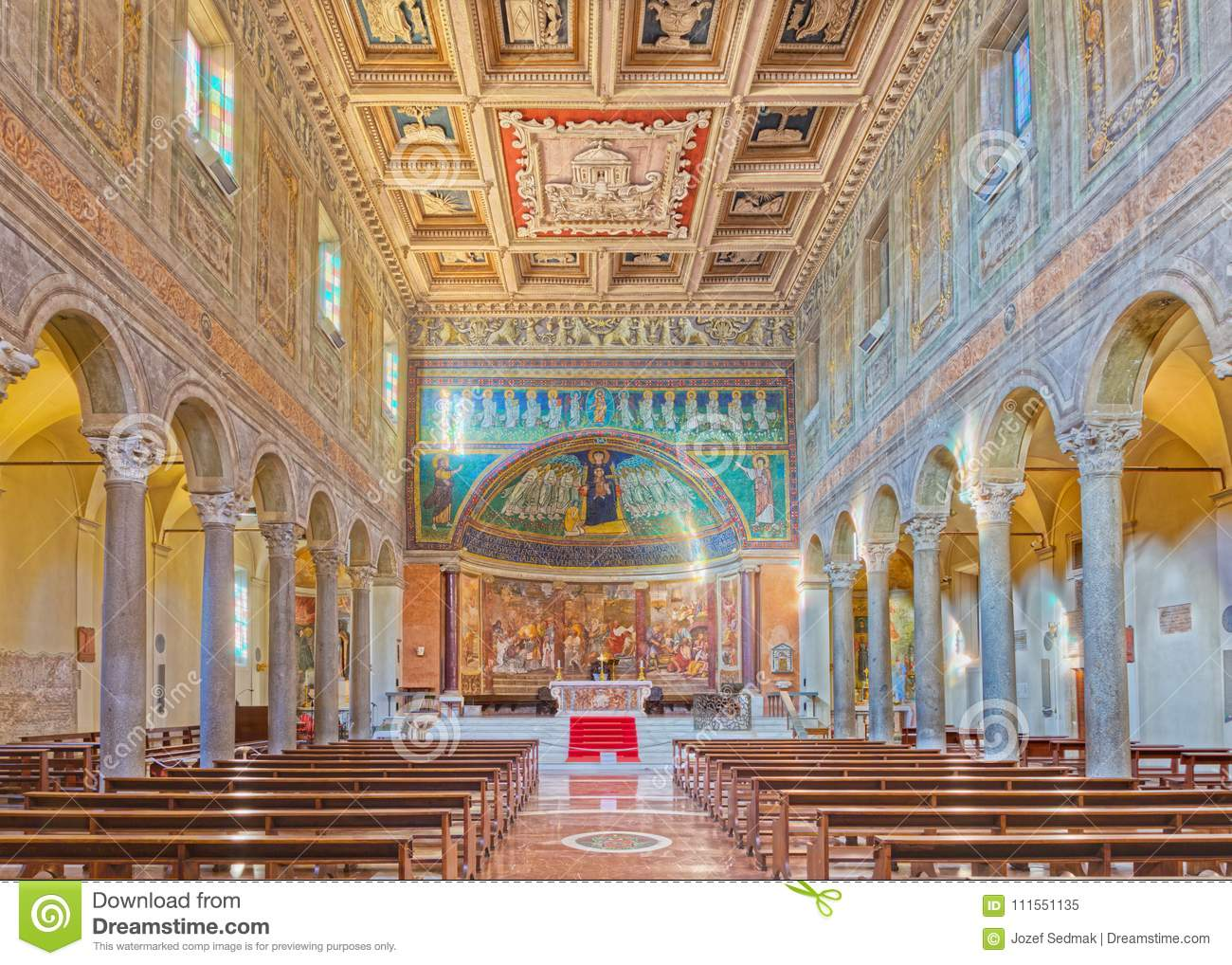 ROME, ITALY - MARCH 10, 2016: The nave of church Basilica di Santa Maria in Dominica with the mosaic of Madonna among the angels