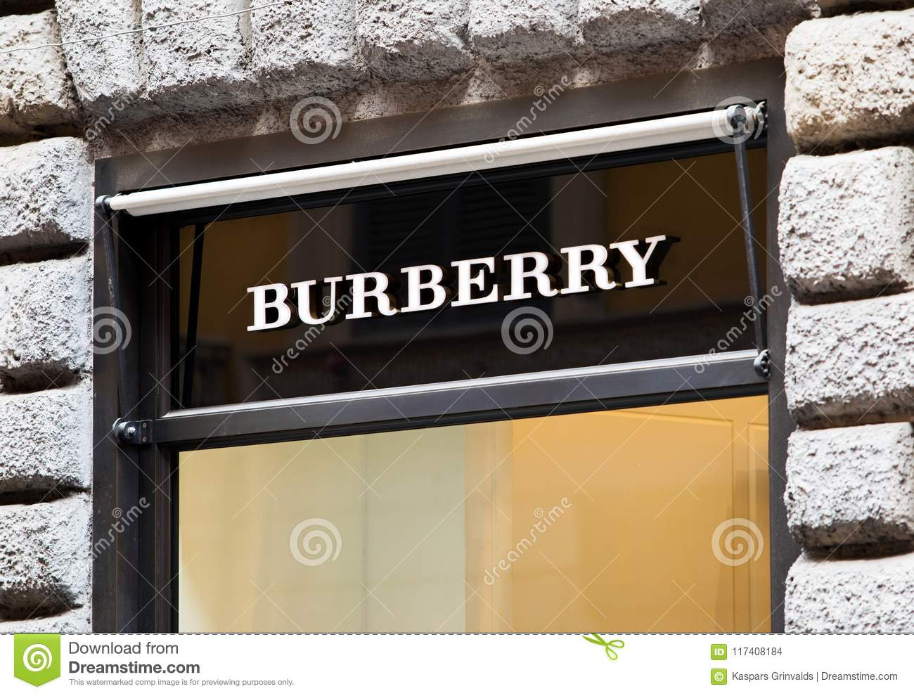 Rome, Italy - May 13, 2018: Burberry logo on brand`s store in Rome.