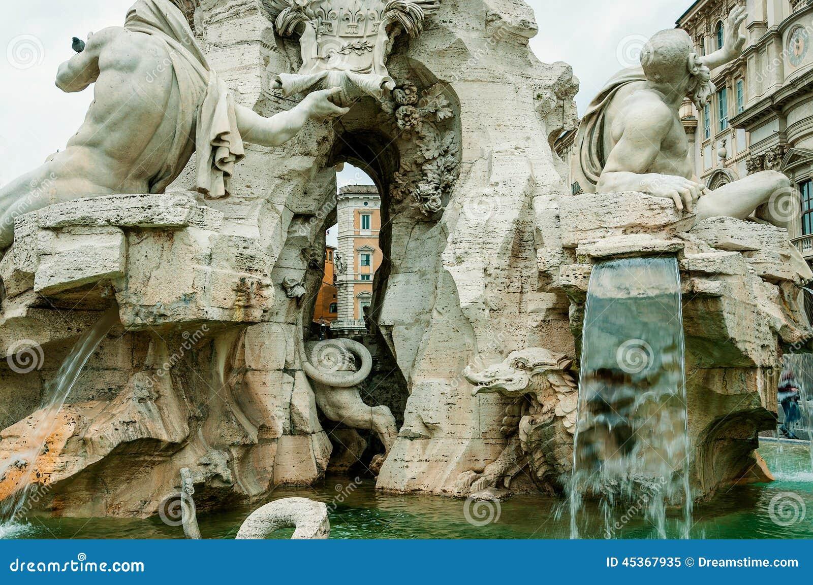 ROME, ITALY-OCTOBER 12,2012 : Fontain des quatre rivières