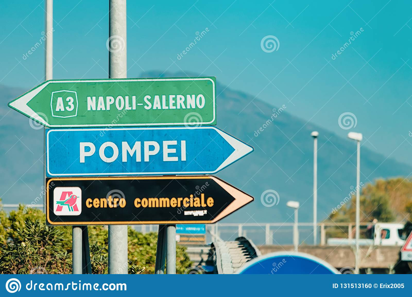 Pompei and Napoli Salerno Traffic signs on the road in Italy