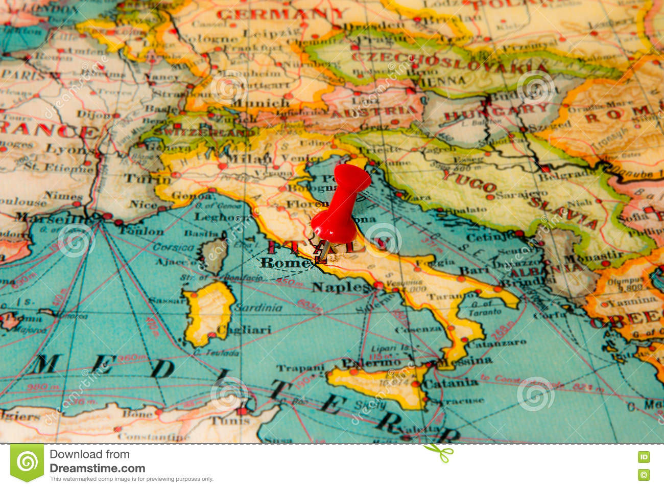 Rome, Italy Pinned On Vintage Map Of Europe Stock Photo ...