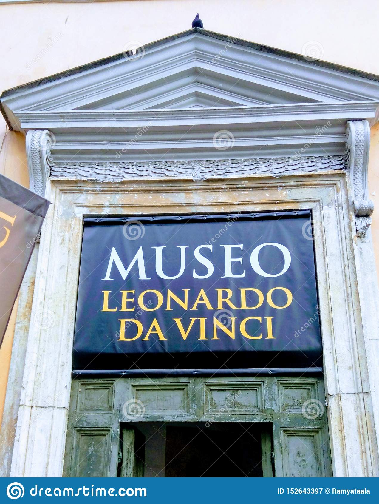 Rome, Italy, 5th of Oct. 2015: LEONARDO DA VINCI MUSEUM - PIAZZA DEL POPOLO