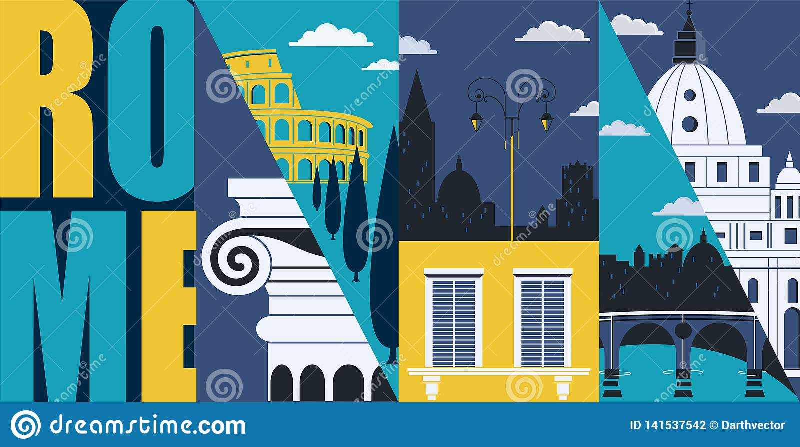 Rome  Italy Vector Banner  Illustration  City Skyline  Historical Buildings In Modern Flat