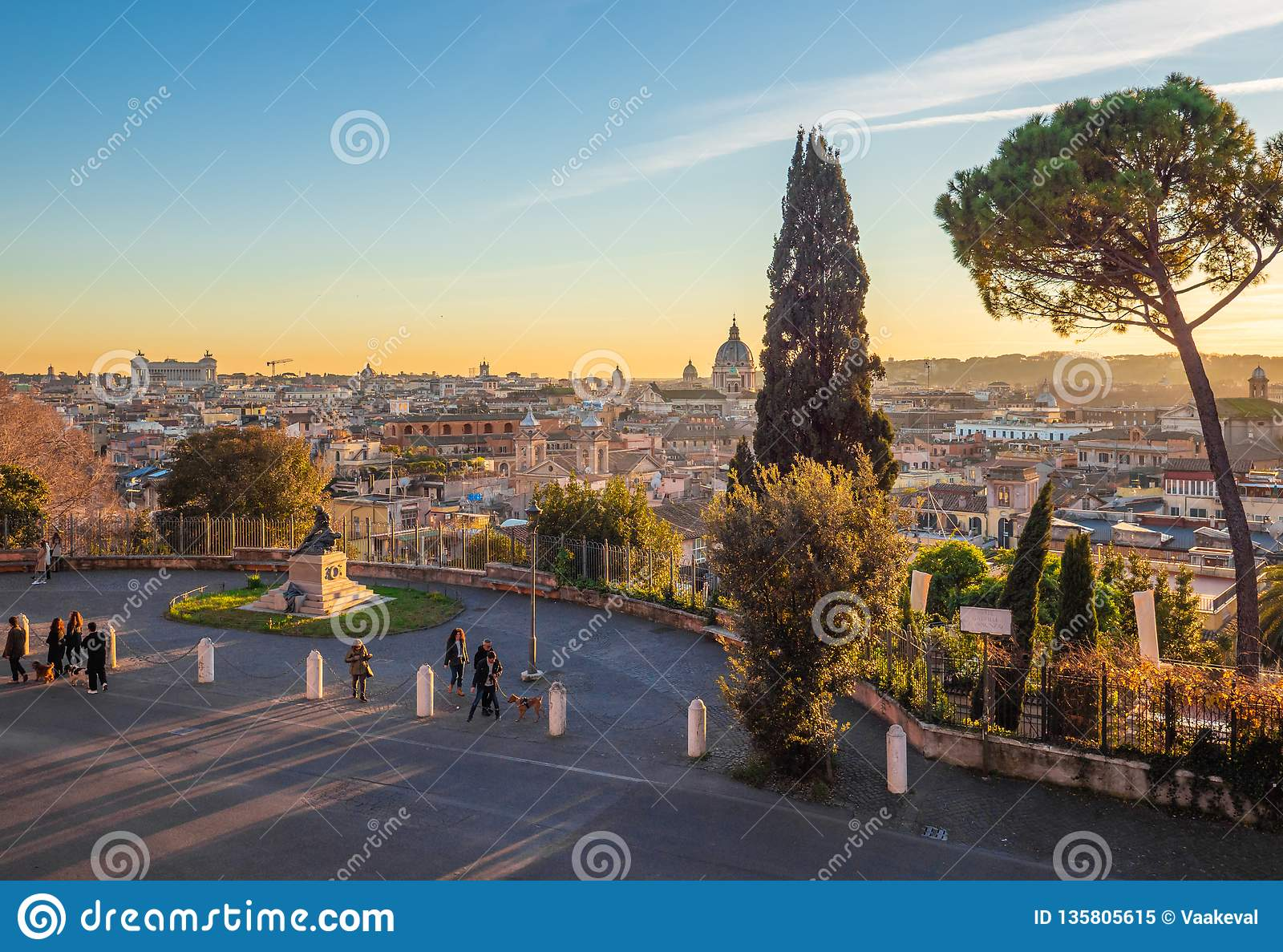 Rome Italy The Villa Borghese Park And Terrazza Del