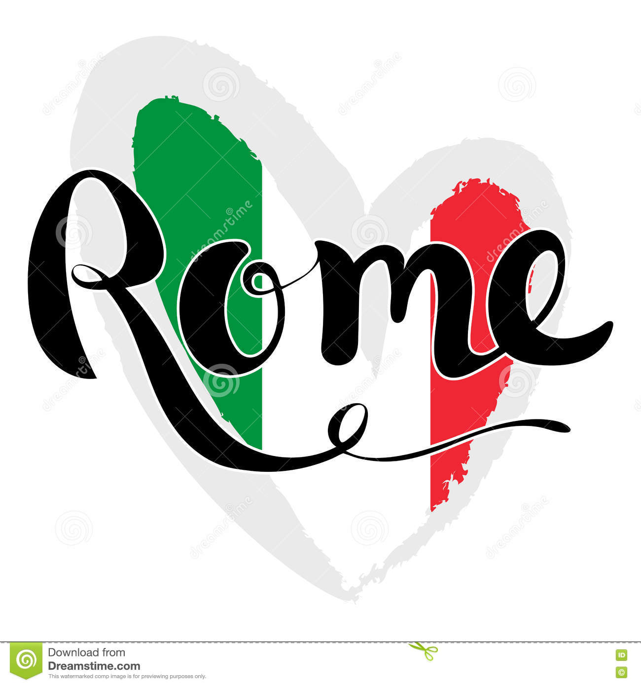 Rome lettering hand written flag of italy in the