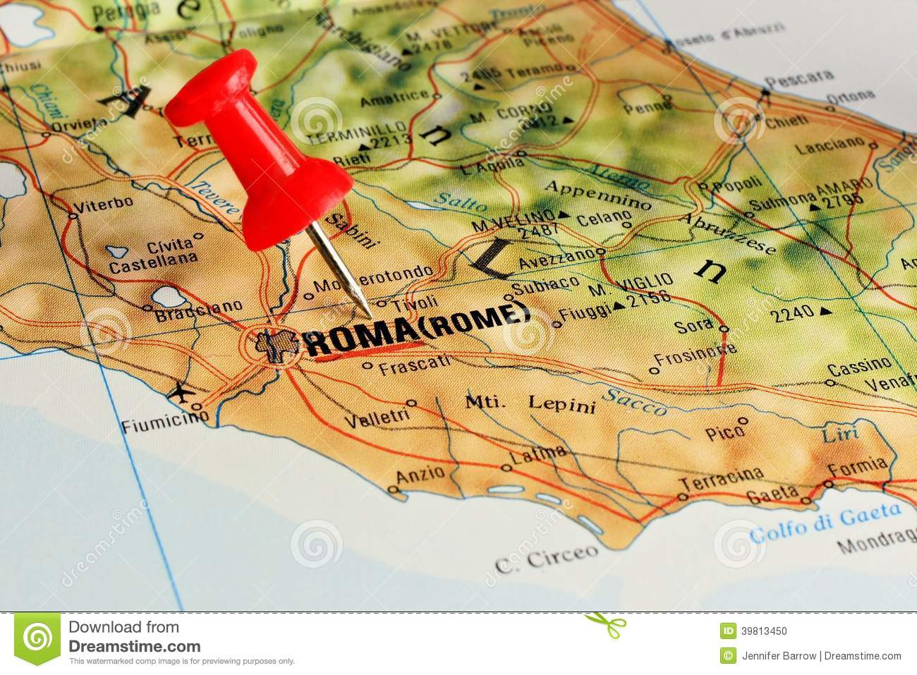 Rome On Map With Pointer Stock Photo Image - Rome map download