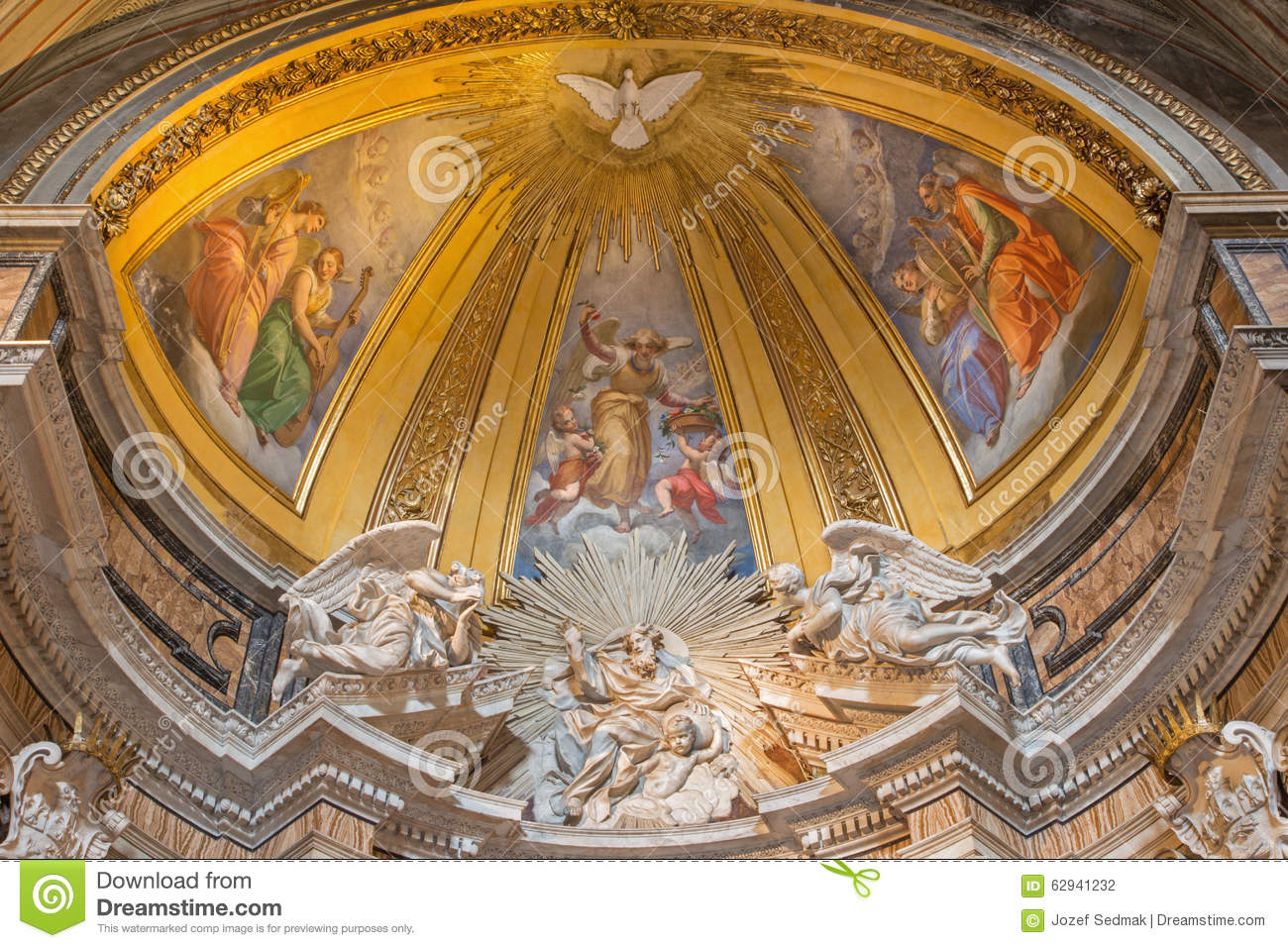 Rome The Marble Sculpture Of God The Father In Thomas Of Villanova