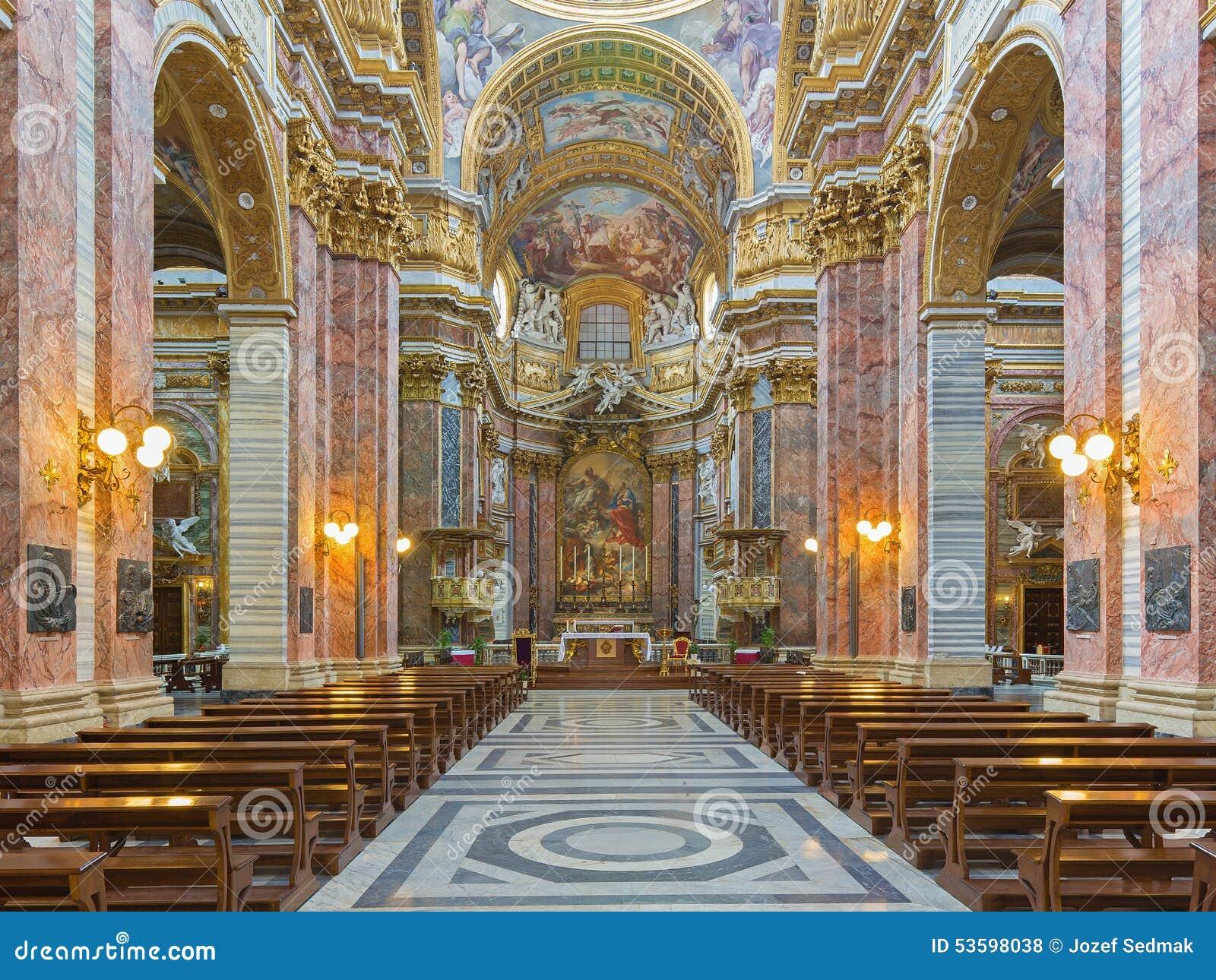 Rome the nave of baroque church basilica dei santi - Corso di design roma ...