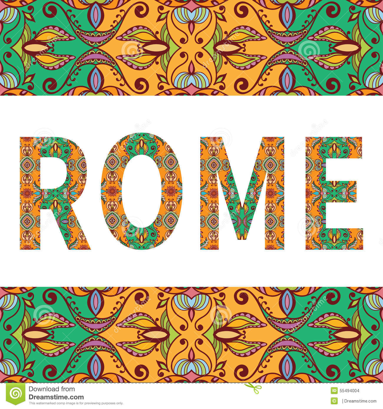 Rome sign with tribal ethnic ornament. Decorative