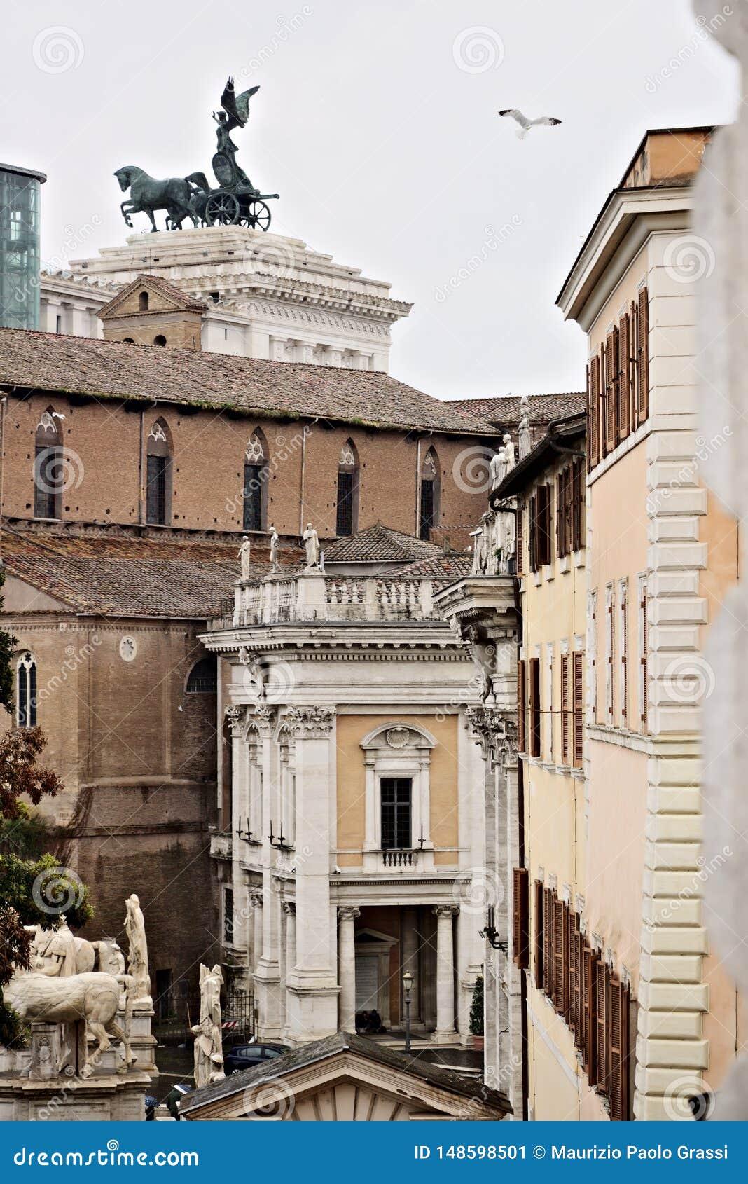 Rome Sikt av Kapitoliumbyggnaden och Vittorianoen På alen