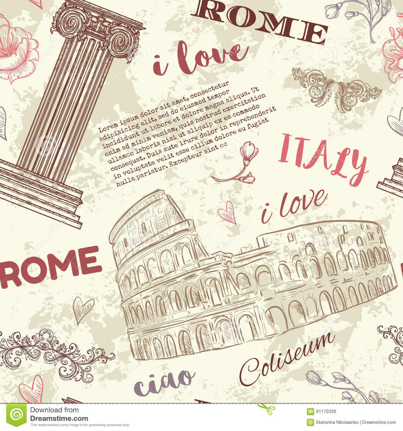 Rome. Vintage Seamless Pattern With Coliseum, Classic ...