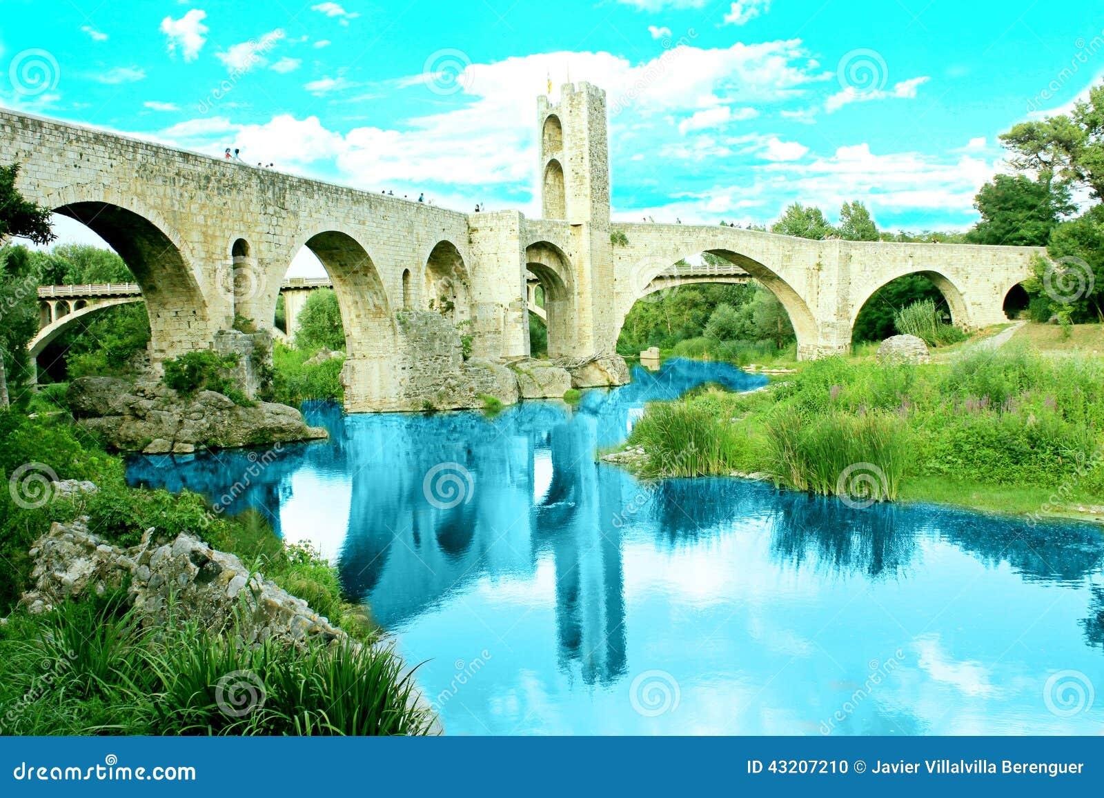 Download Romersk Bro I Besalú, Girona (Catalonia, Spanien) Arkivfoto - Bild av past, åldrades: 43207210