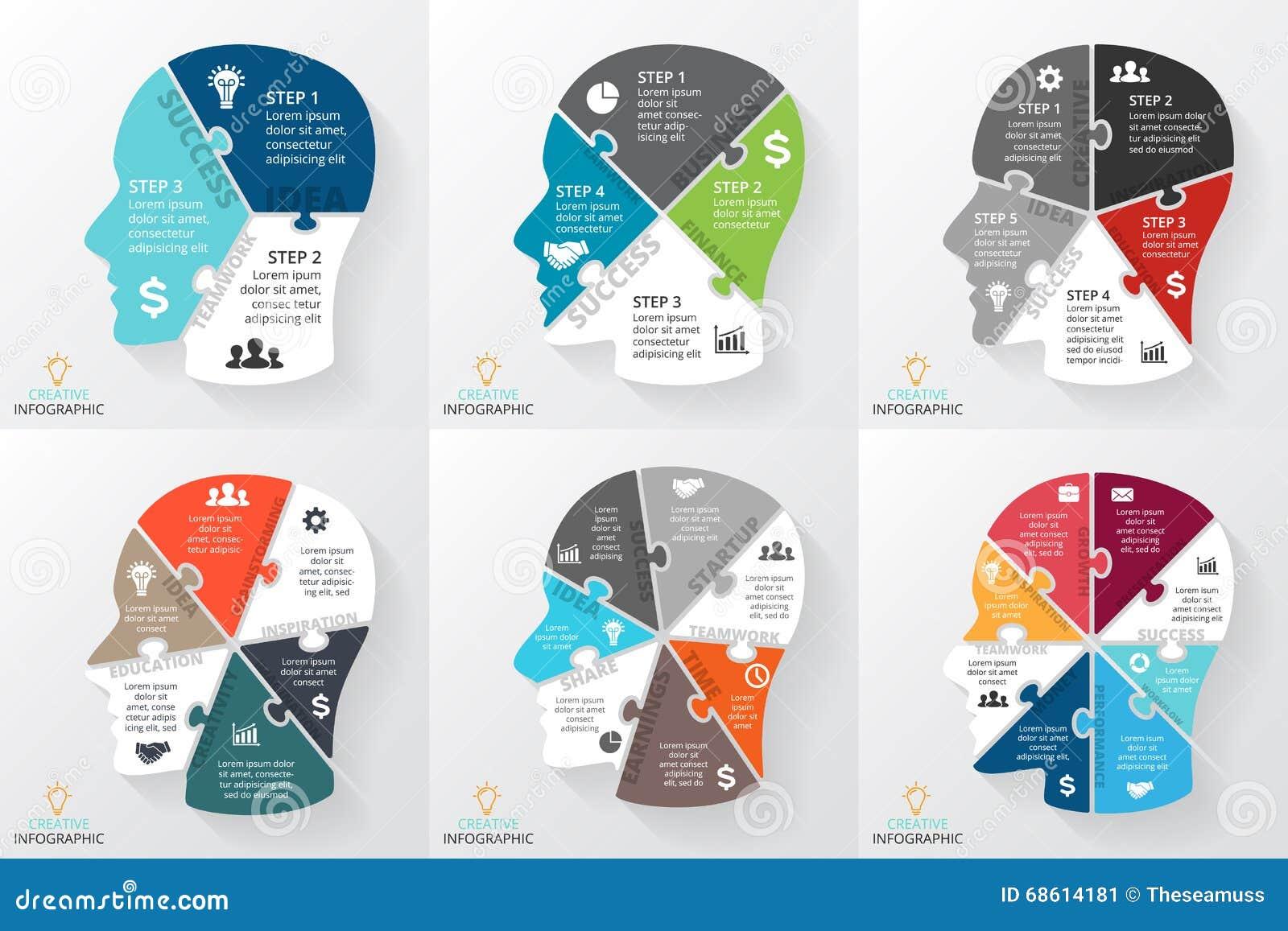 Rompecabezas Del Cerebro Del Vector Infographic Plantilla Para El ...