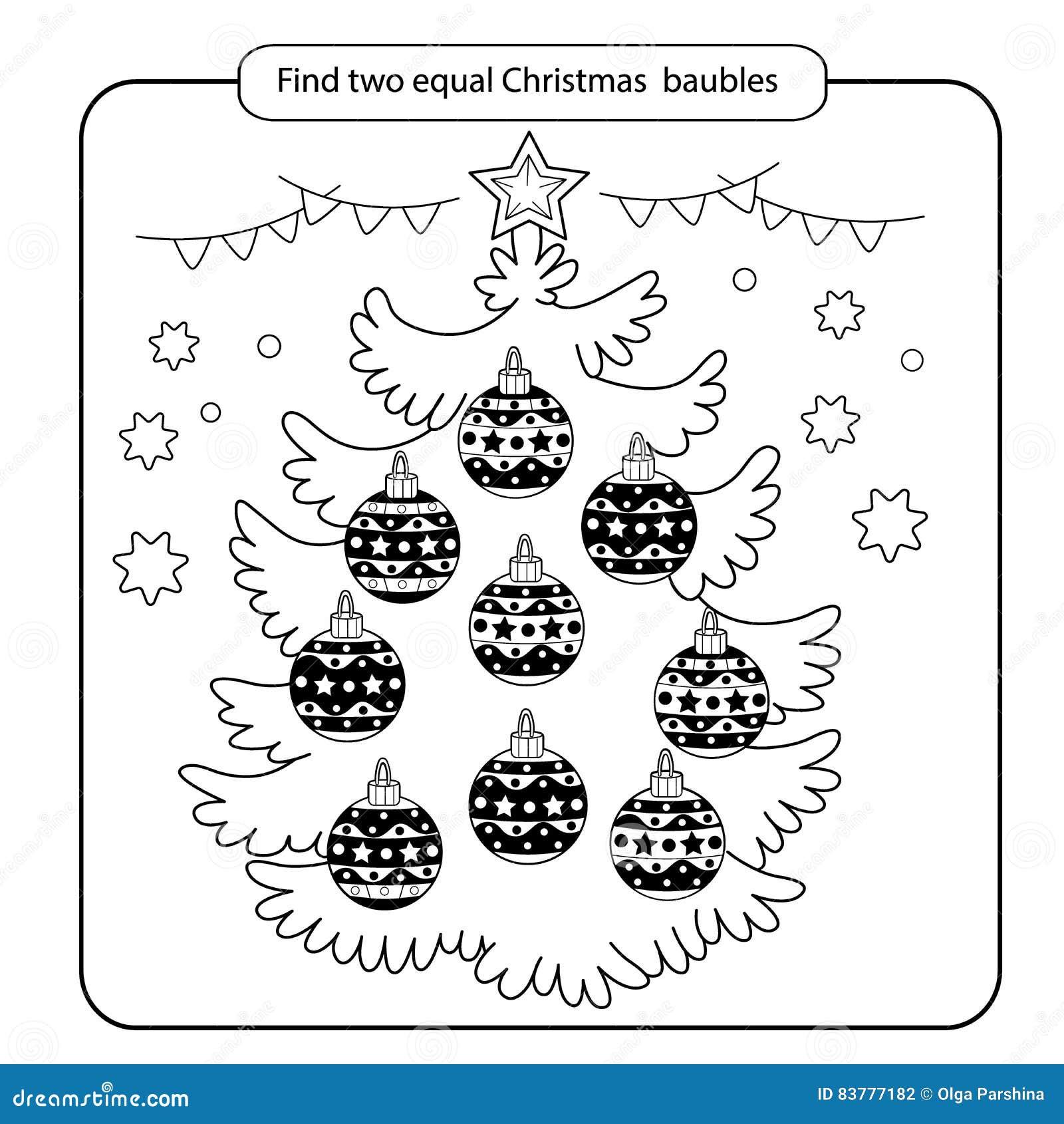 para los nios juego de mente del nio cosas para encontrar el partido bolas de la navidad fijadas