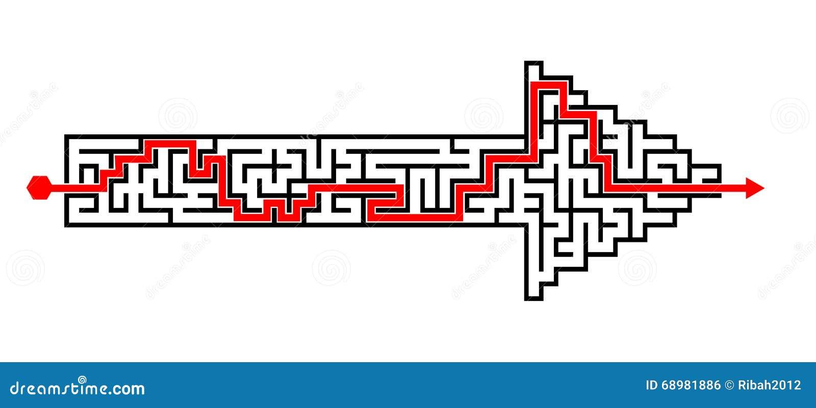 Rompecabezas solucionado forma del laberinto de la flecha