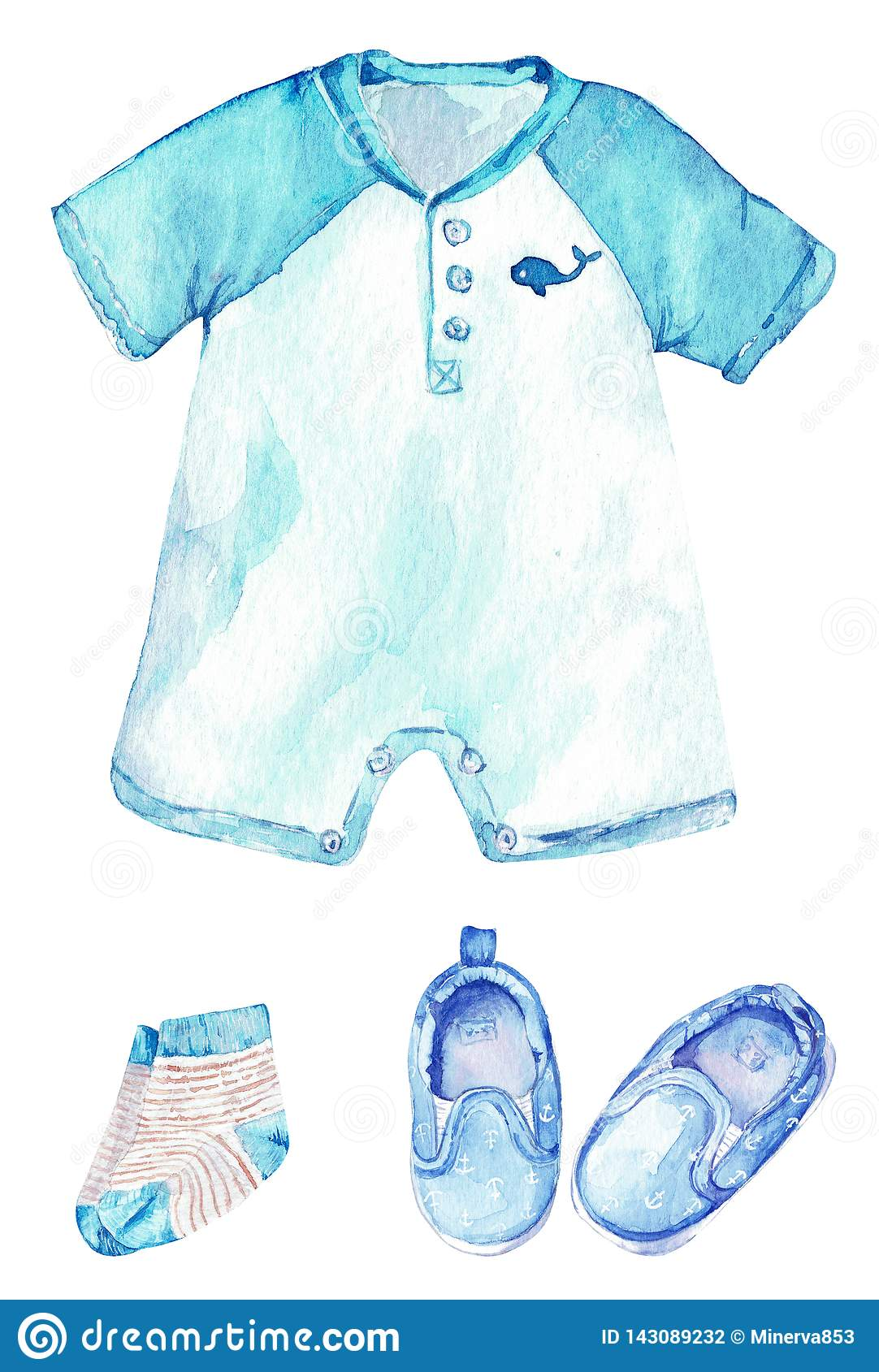 Romper do bebê com uma baleia, umas peúgas listradas e umas sapatas com âncoras Pouco equipamento do marinheiro Ilustração da agu