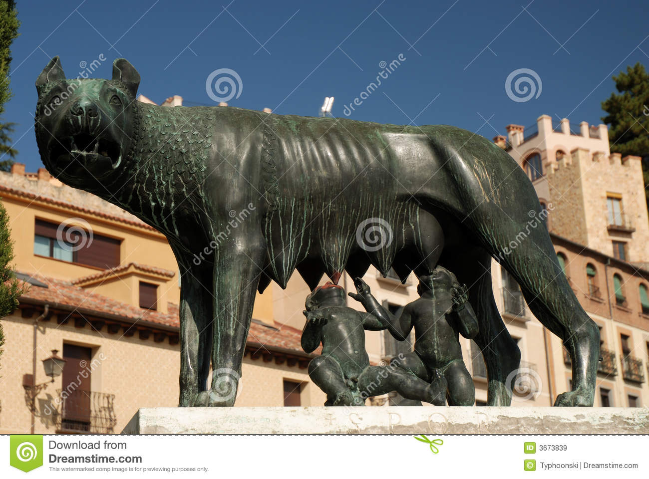 Romulus and Remus Statue stock image. Image of twins, feeding - 3673839