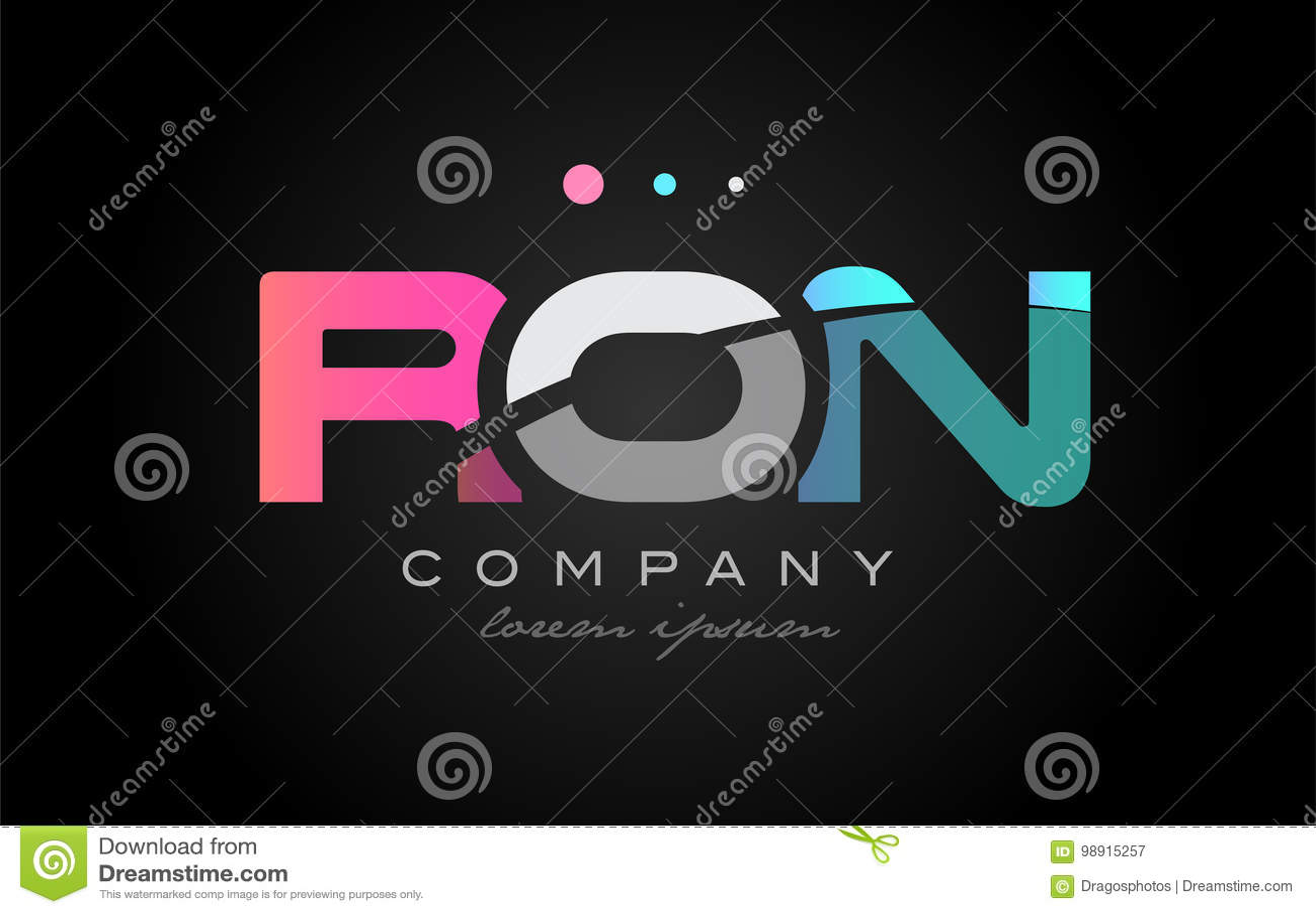 RON R O N Three Letter Logo Icon Design Stock Vector Image