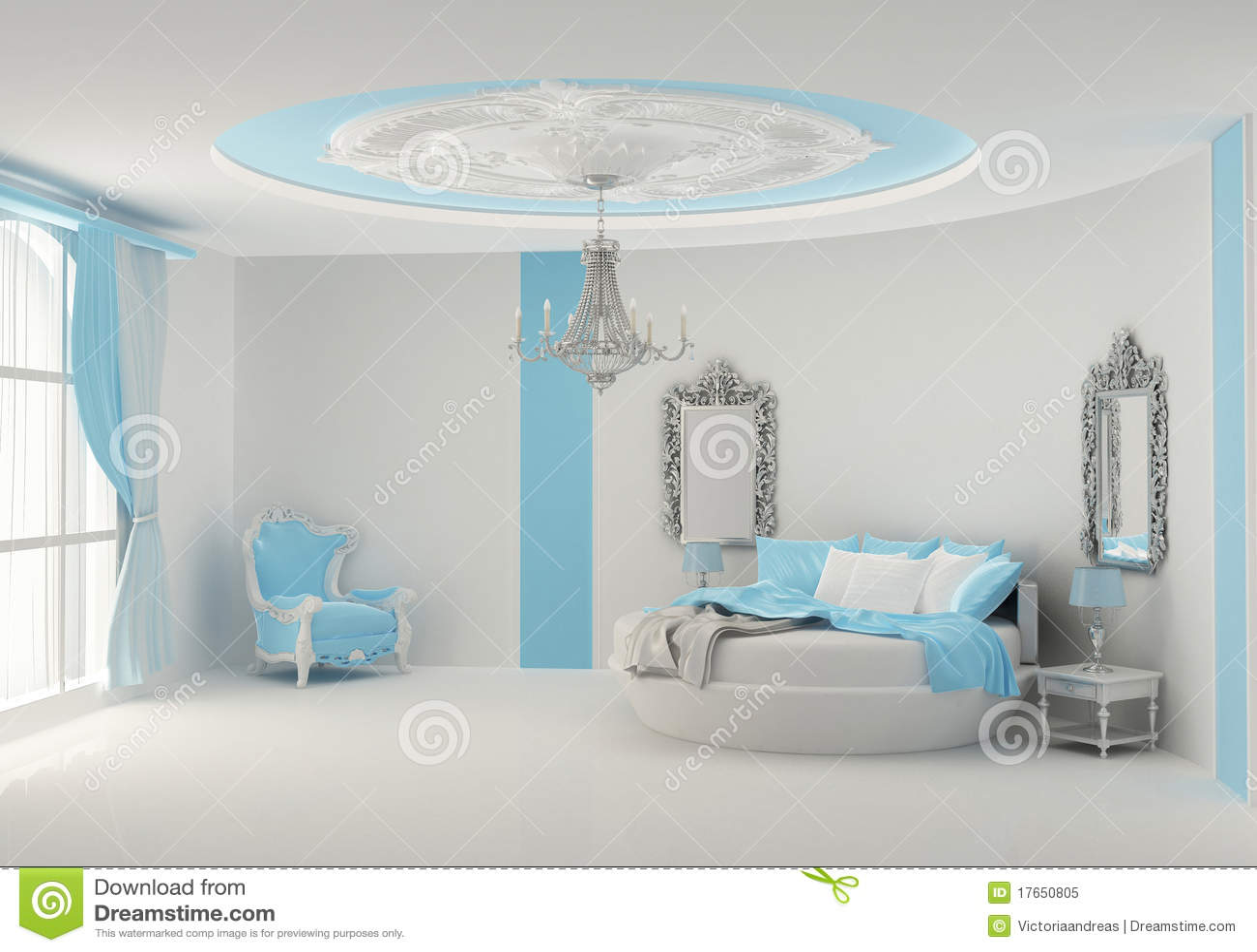 Slaapkamer met een rond bed stock illustratie   afbeelding: 52410450