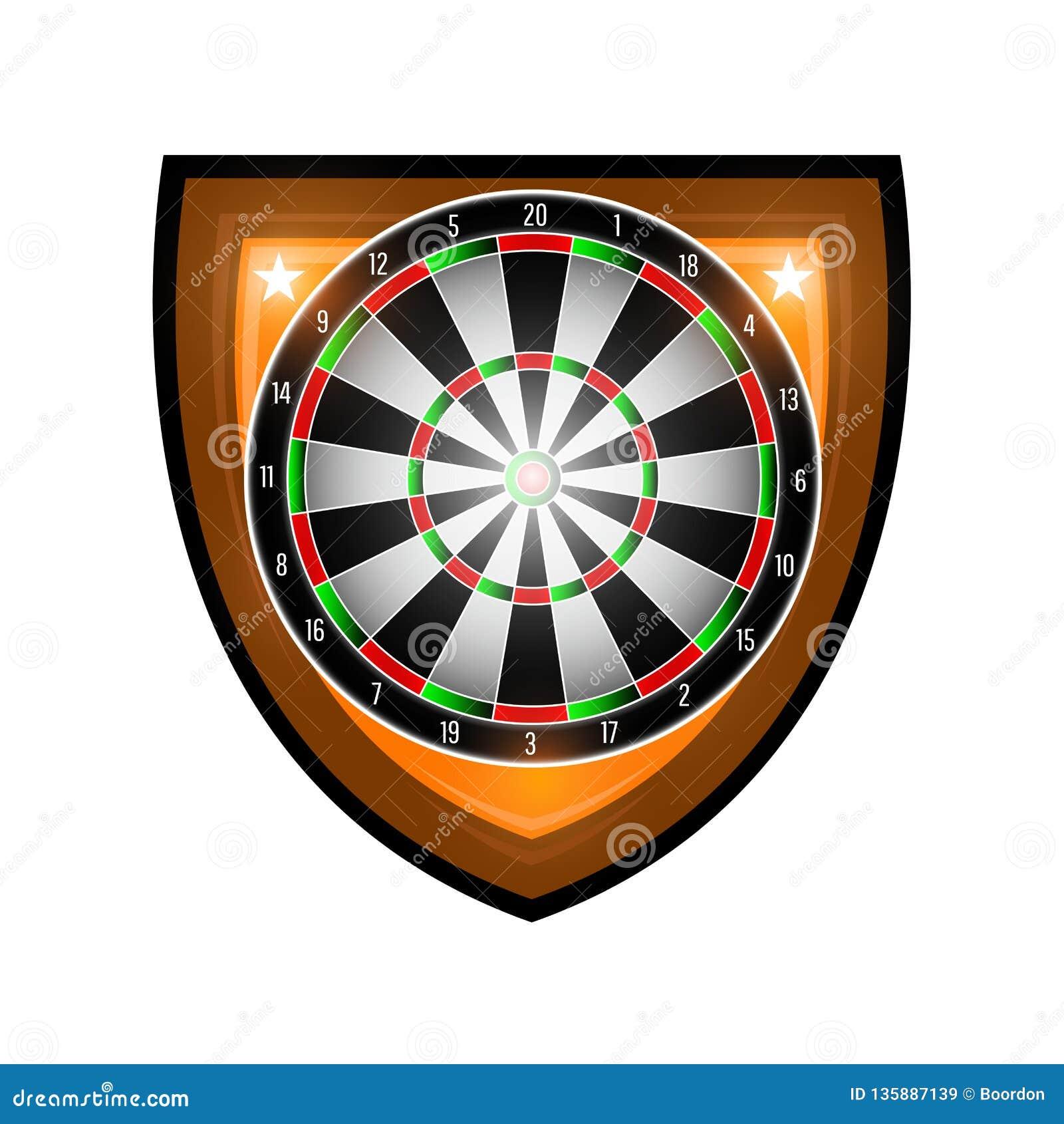 Rond die dartboard in centrum van schild op wit wordt geïsoleerd Sportembleem voor om het even welk pijltjesspel of kampioenschap