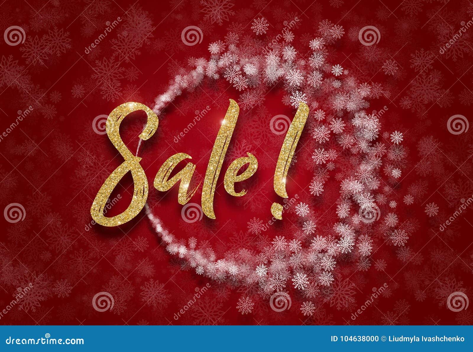 Download Rond Kerstmiskader Van Witte Sneeuwvlokken Op Een Rode Achtergrond Schitter Verkoopteken Stock Illustratie - Illustratie bestaande uit folie, vier: 104638000