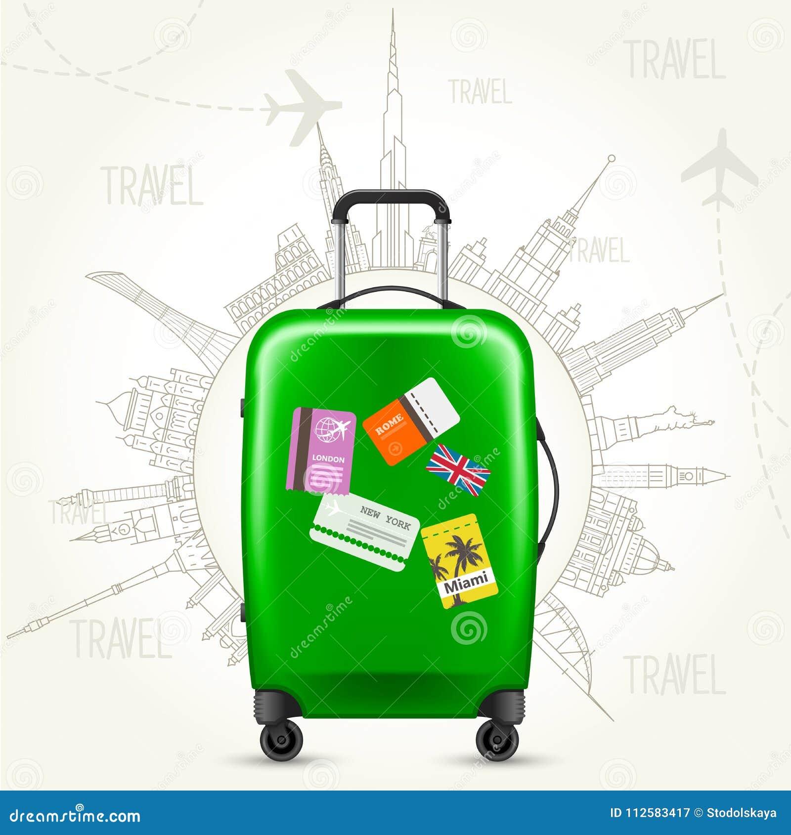 Rond-le-monde de voyage - vues de valise et du monde