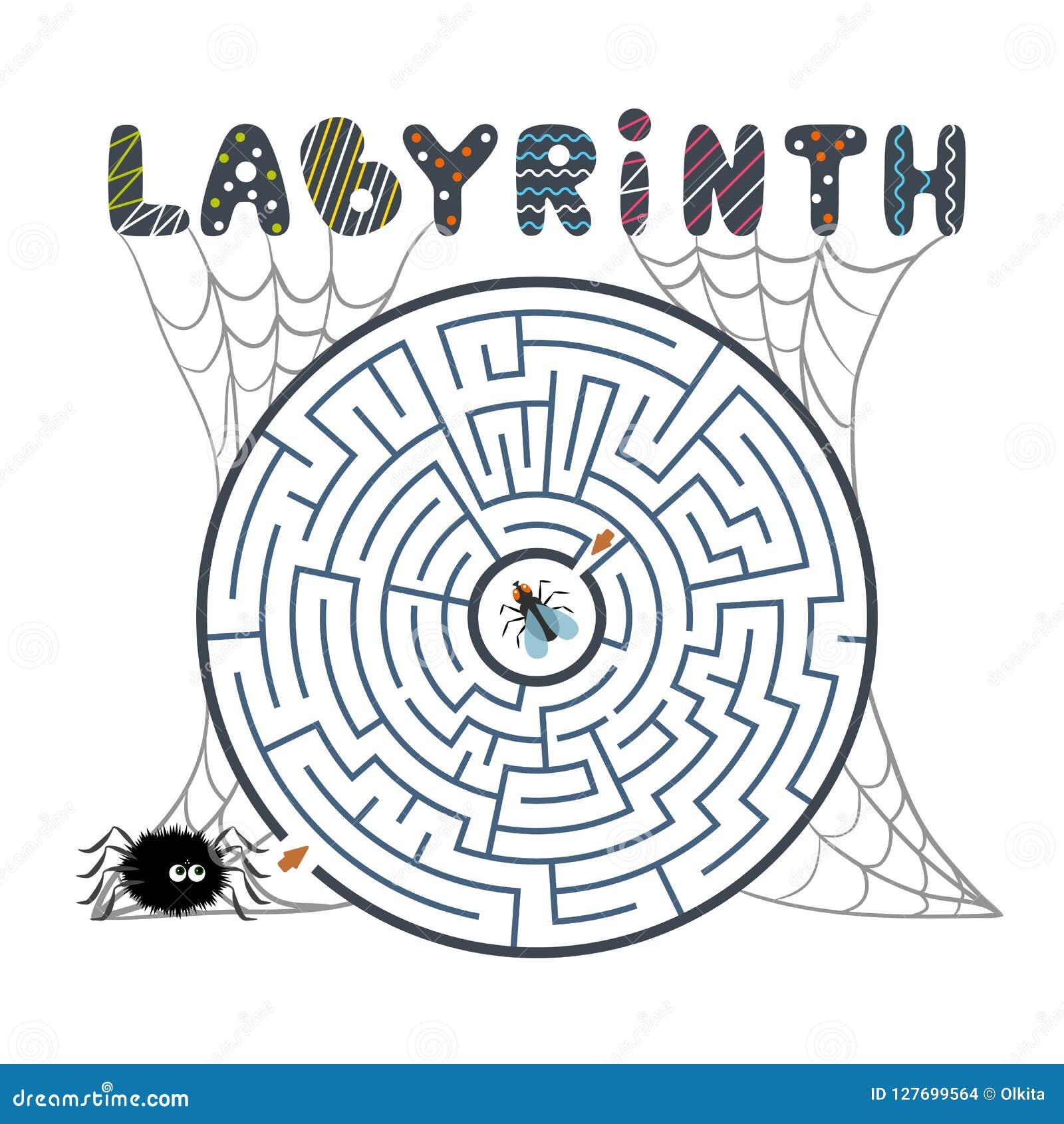 Rond zwart labyrint met spin, vlieg en Web op witte achtergrond Kinderens labyrint Spel voor jonge geitjes Kinderens raadsel voor