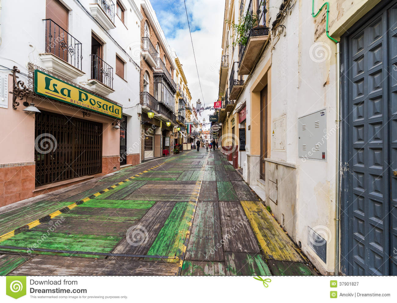 RONDA, SPAIN-DECEMBER 15, 2013: Ronda street on Christmas Eve. Popular ...