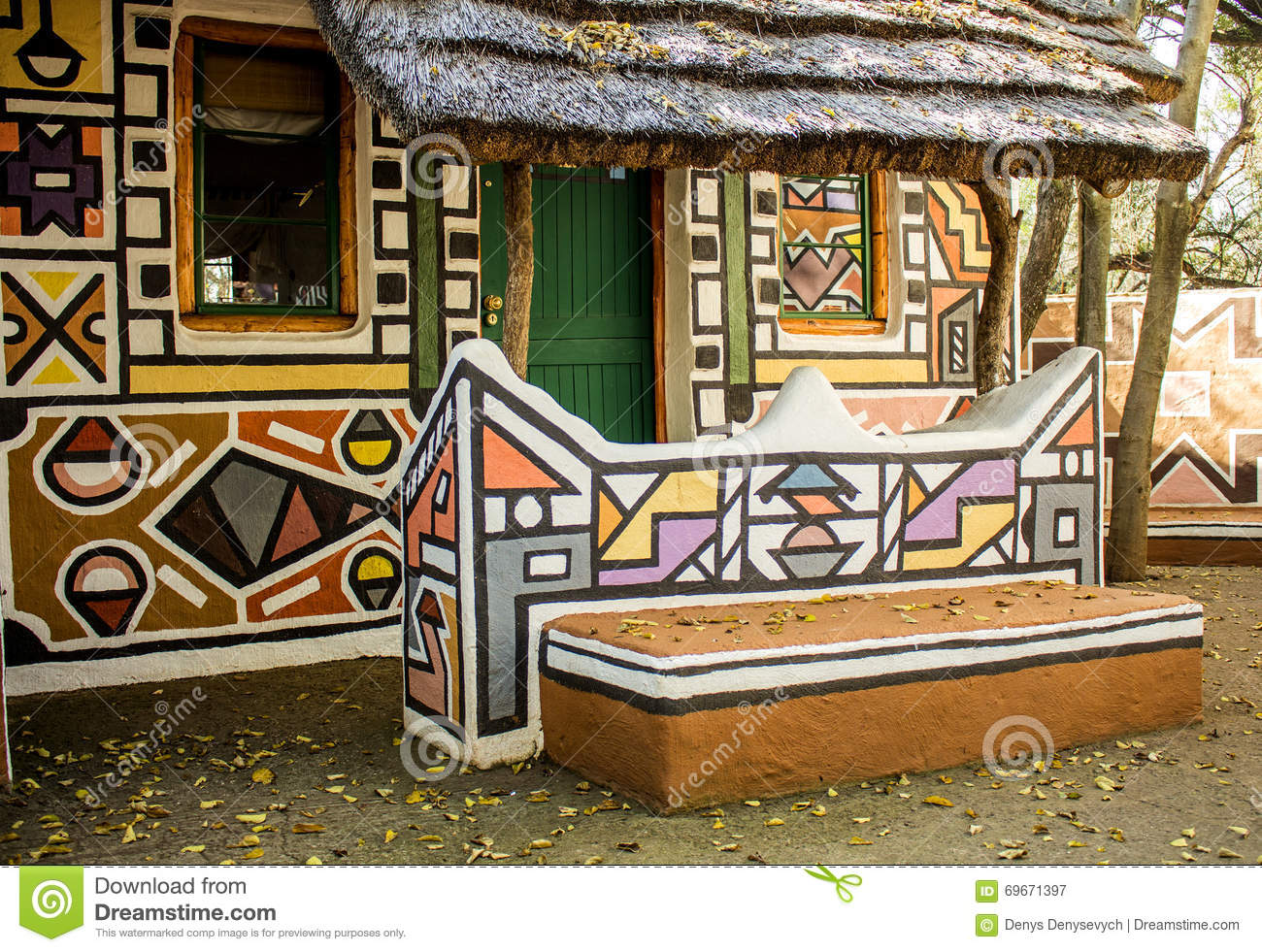 rondavel africain maison dans le style tribal ethnique de peinture image stock image du. Black Bedroom Furniture Sets. Home Design Ideas