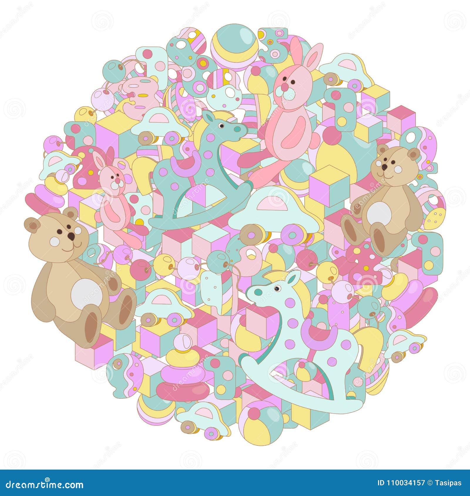 Ronde het stuk speelgoed van de de krabbelsbaby van het pastelkleurbeeldverhaal vectorillustratie