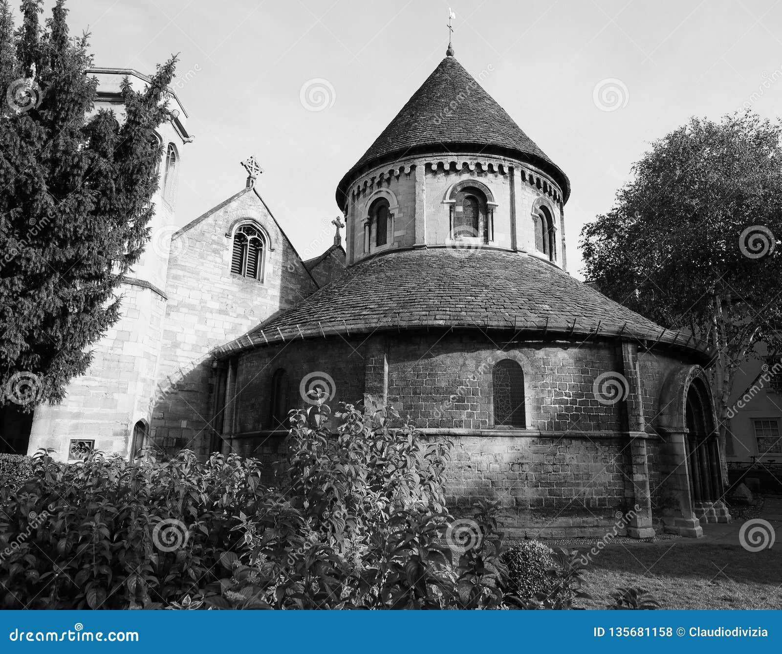 Ronde Kerk in Cambridge in zwart-wit