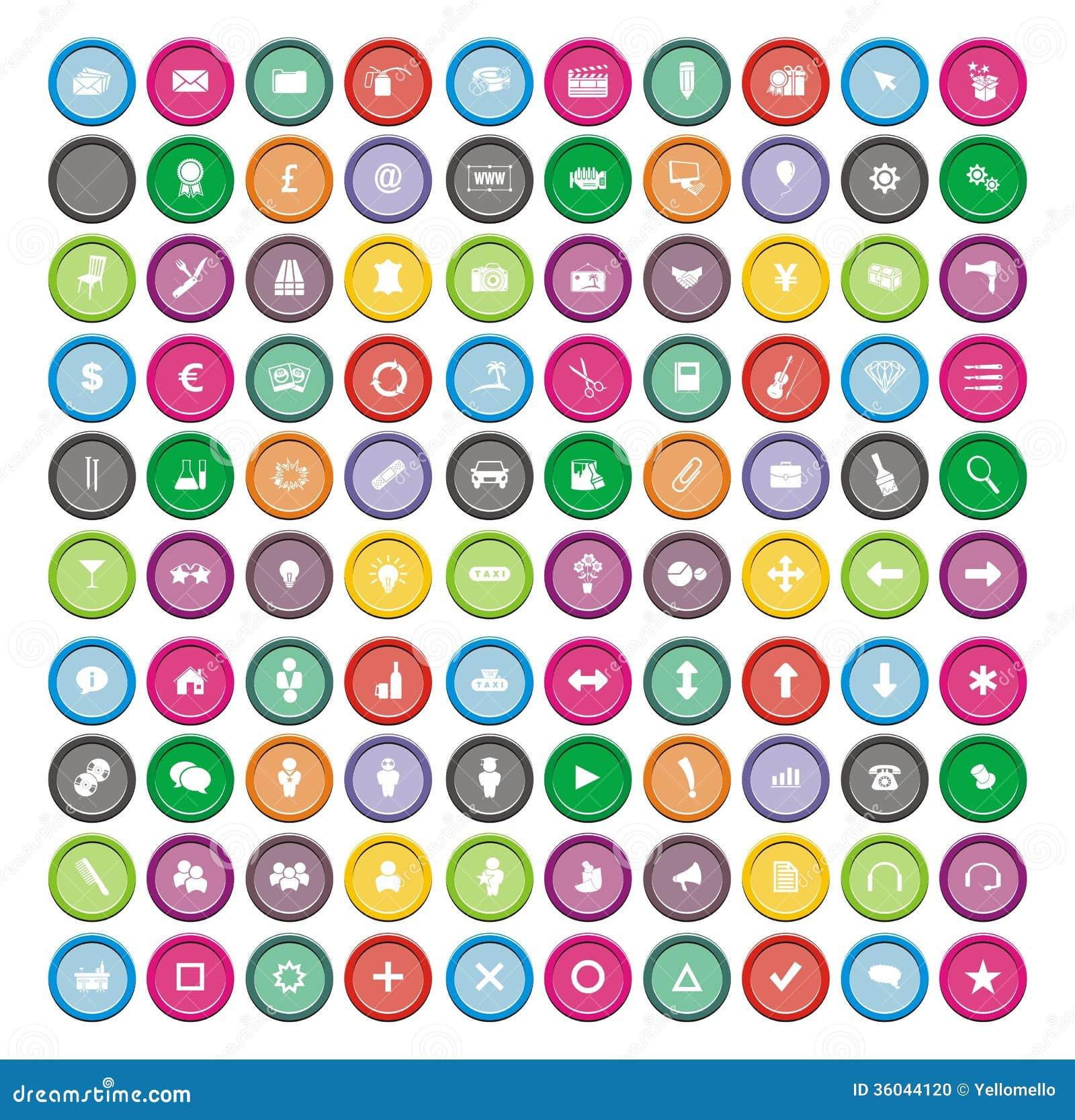 100 ronde pictogramreeksen