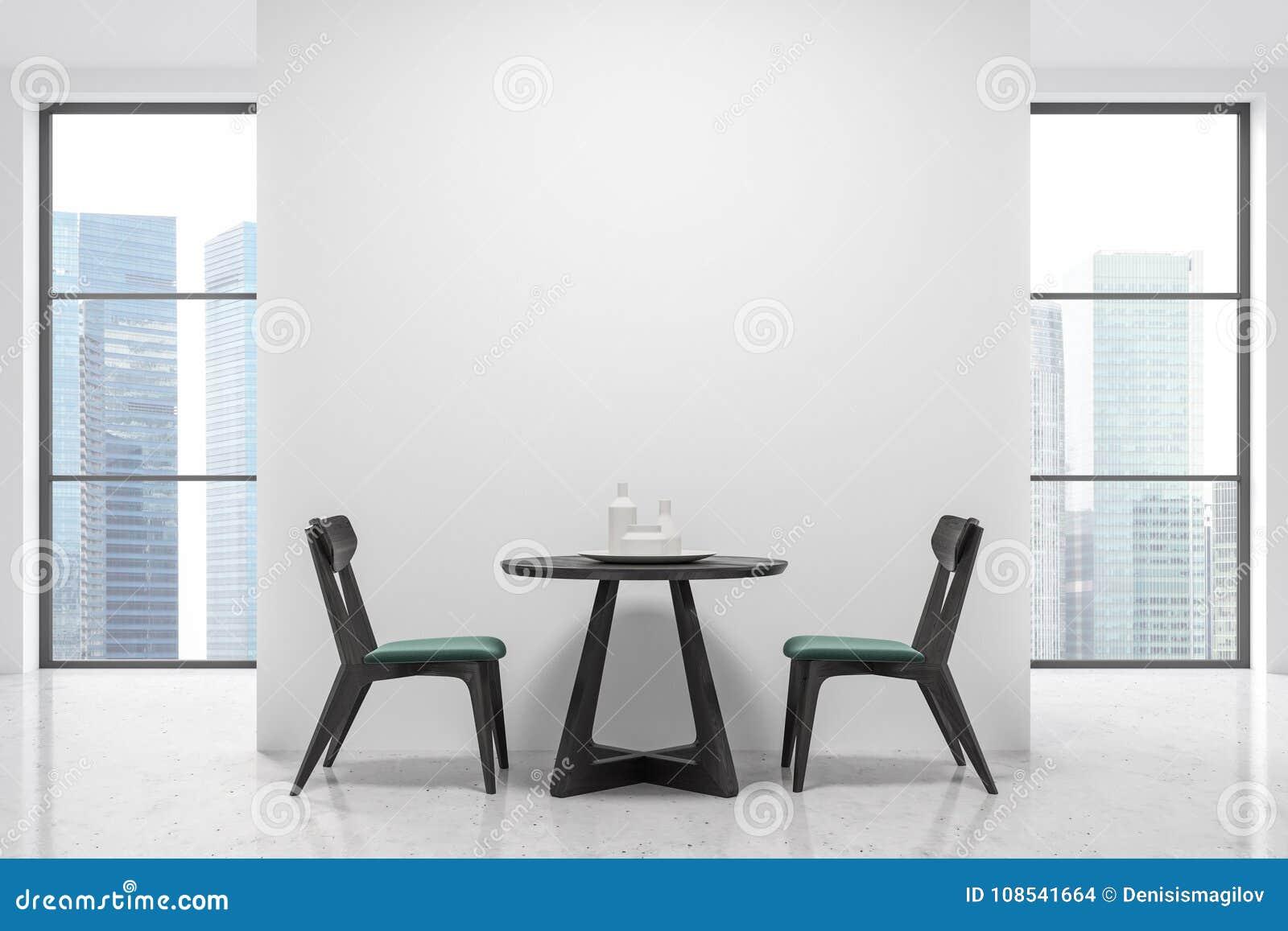 Witte Tafel Zwarte Stoelen.Rondetafel En Groene En Zwarte Stoelen Vensters Stock