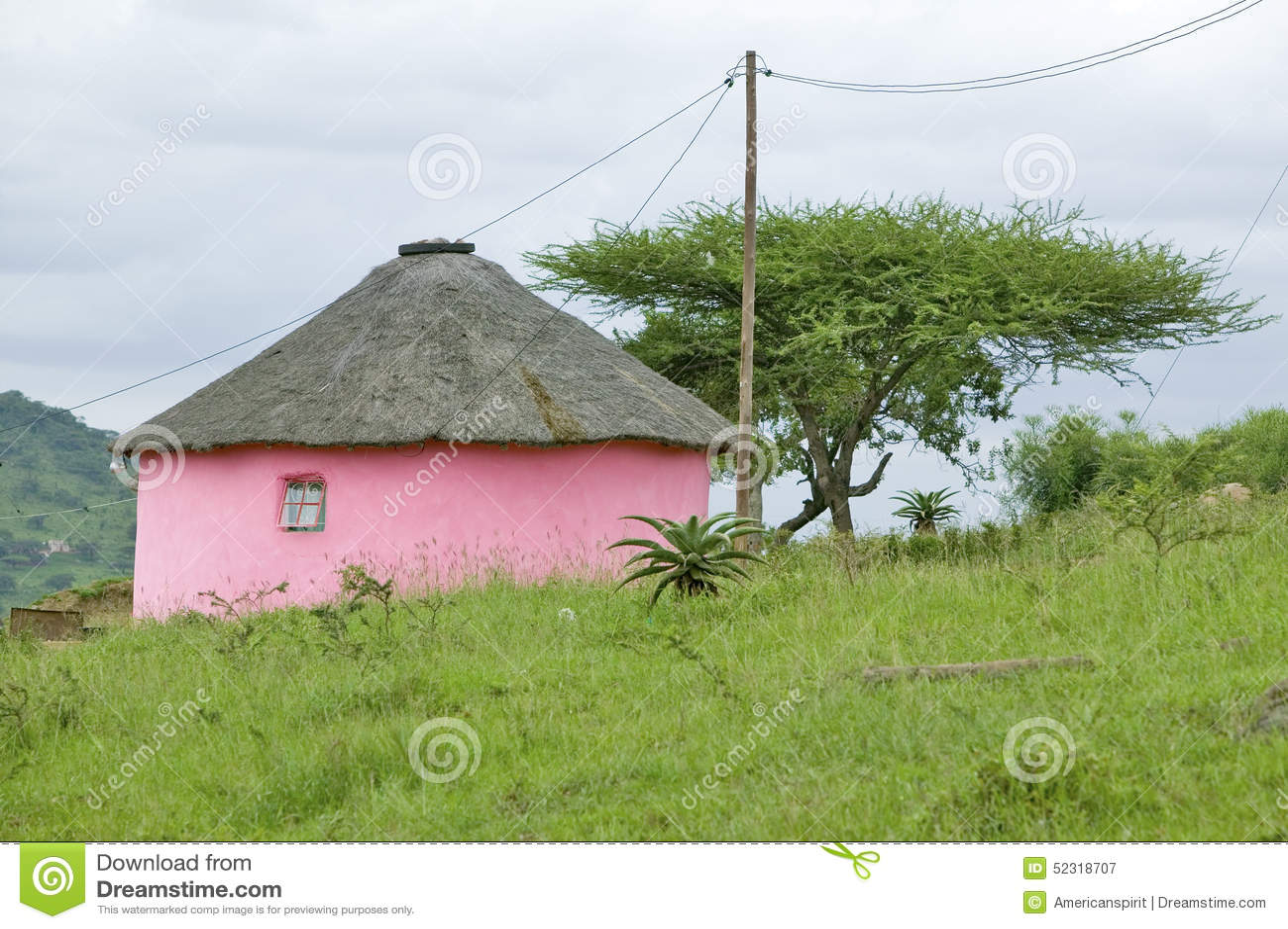 Rondoval Rundes Haus Zulu Village Zululand Sudafrika Stockbild