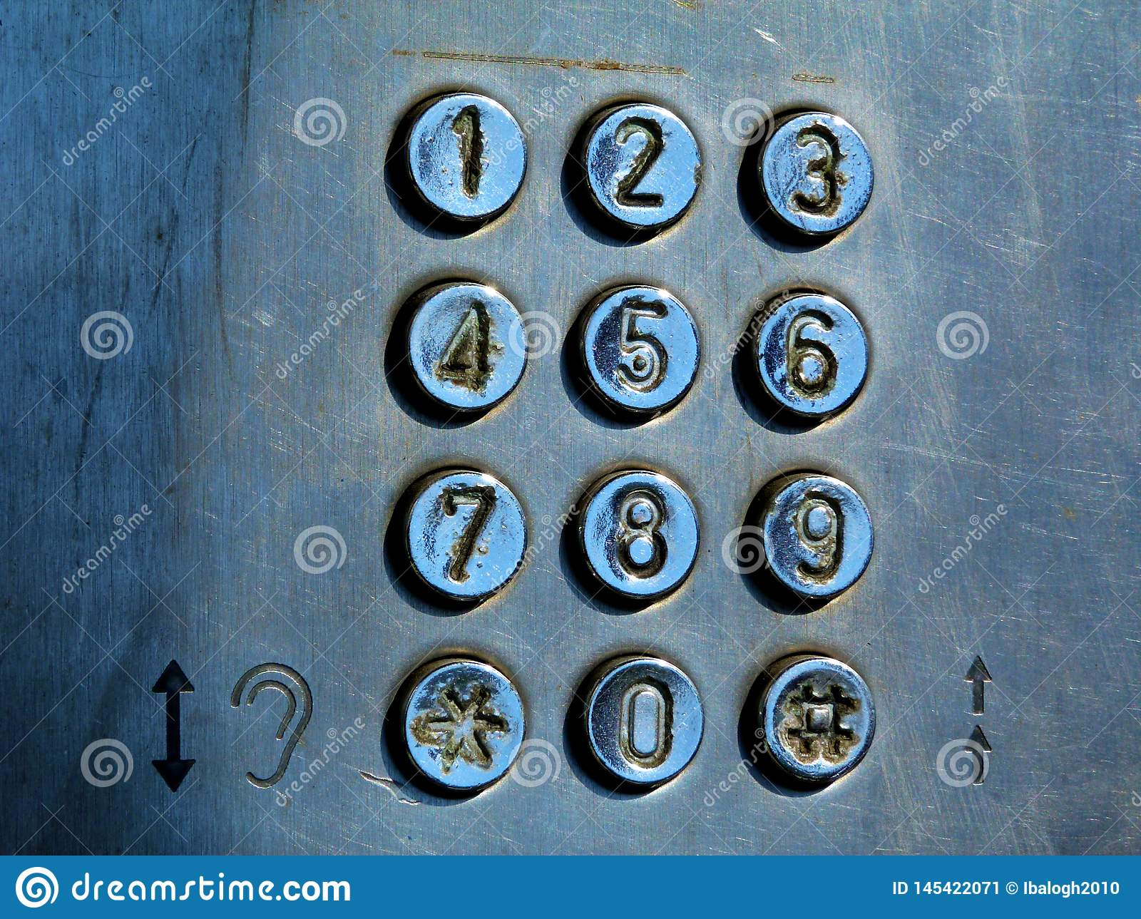 Dial Pad And Buttons Of Old Coin Operated Street Phone Stock