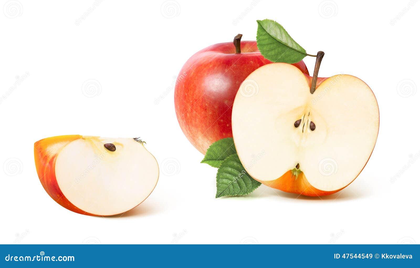 Rood appel half en ver die kwart op wit wordt geïsoleerd