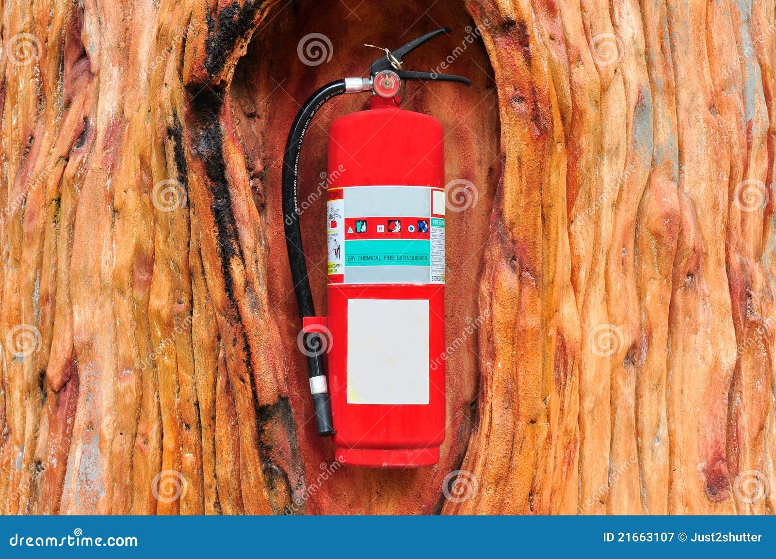 Rood brandblusapparaat in de boom