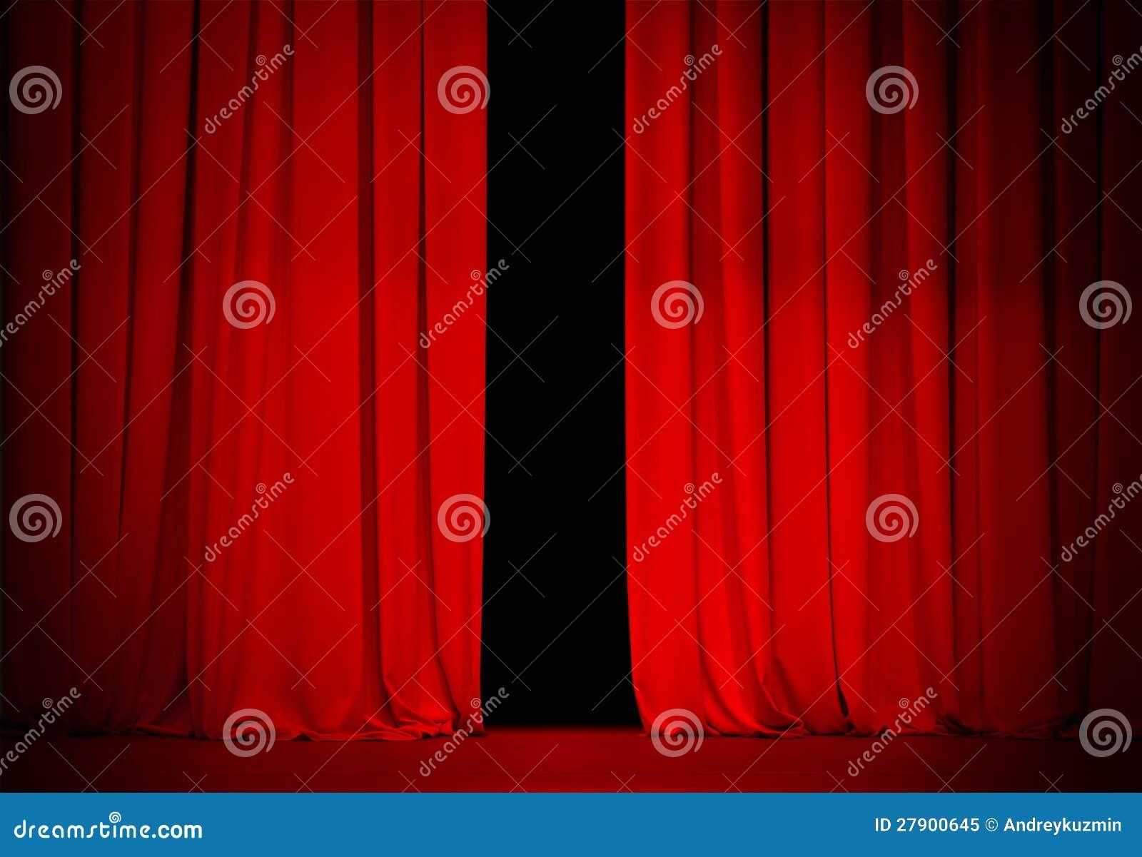 Rood gordijn op theater of bioskoopstadium
